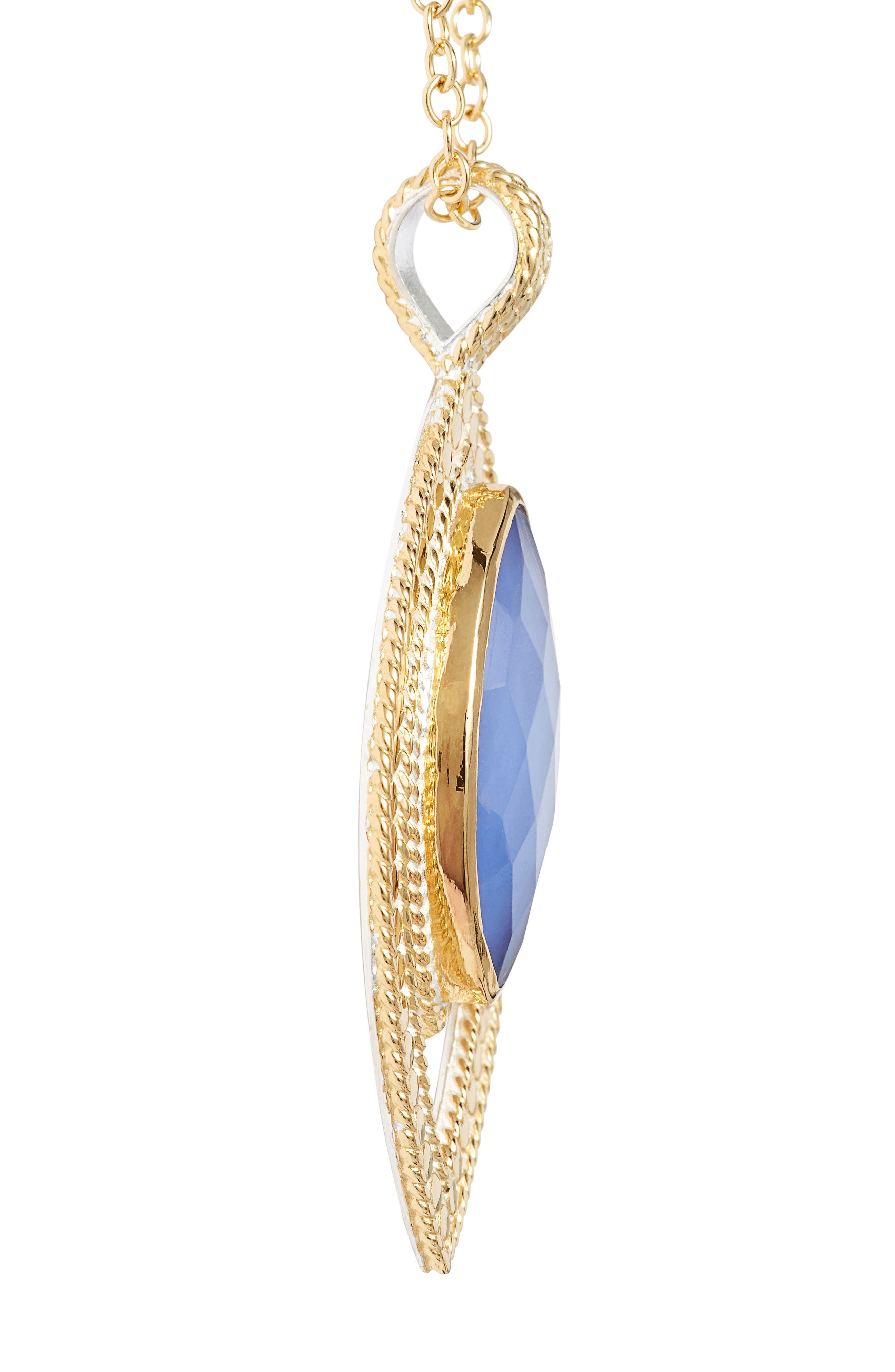Chalcedony Doublet Pendant Necklace,                             Alternate thumbnail 3, color,                             Gold/ Blue Chalcedony
