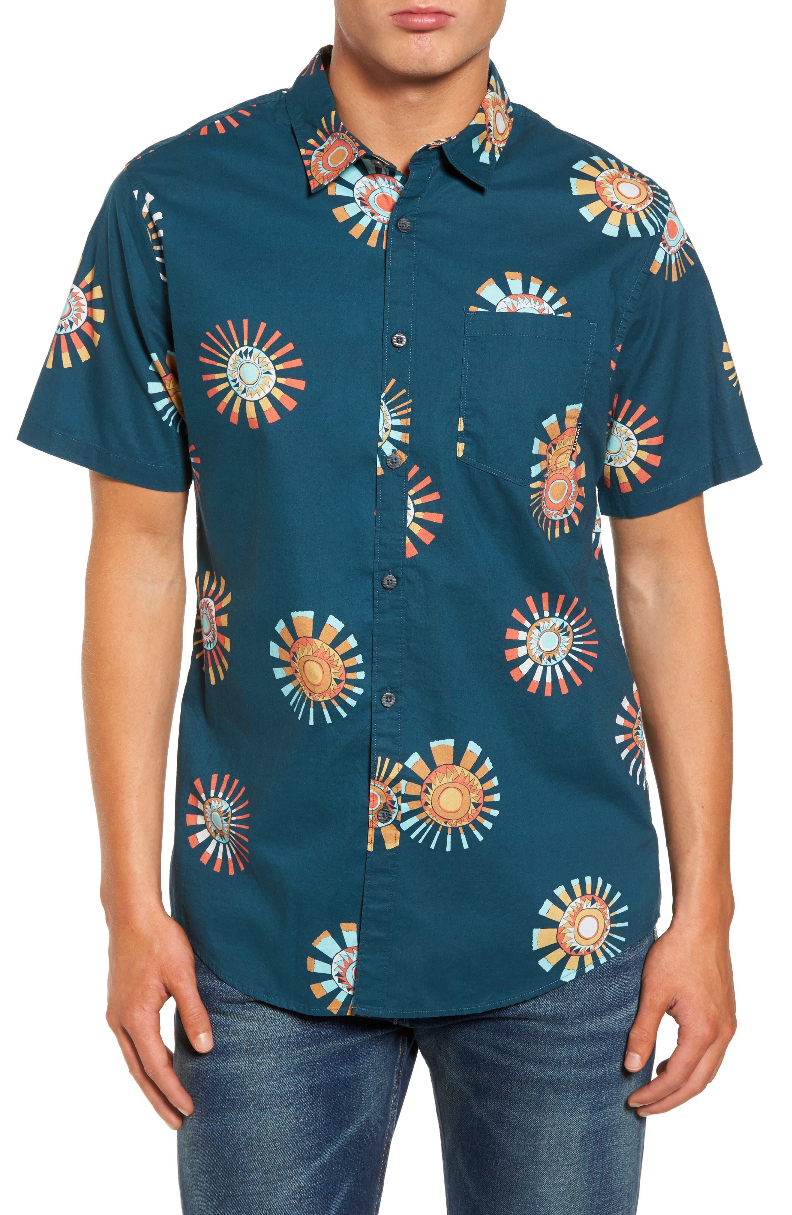Sunday Floral Woven Shirt,                             Main thumbnail 1, color,                             Navy