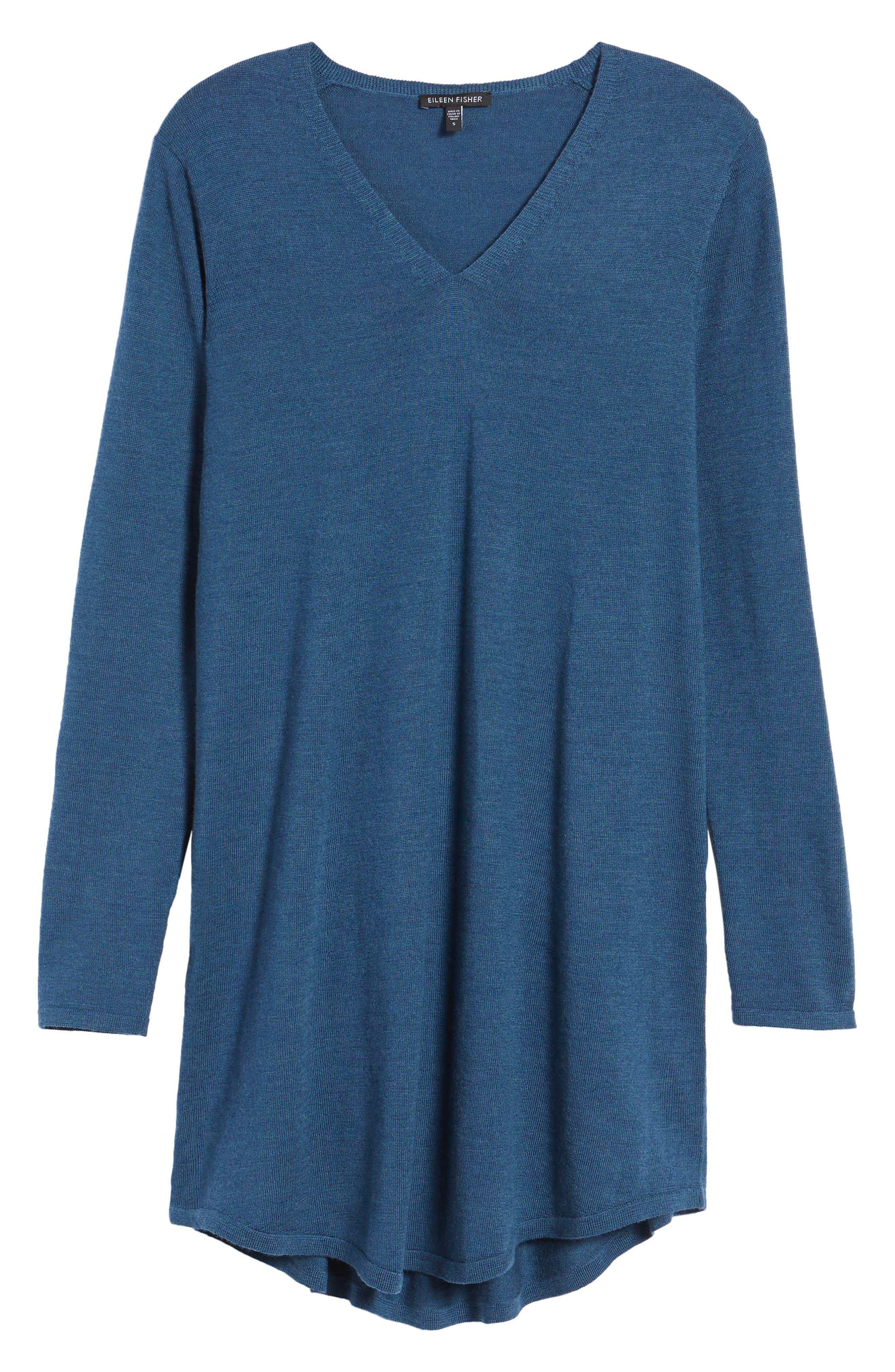 Alternate Image 1 Selected - Eileen Fisher Lightweight Merino Jersey V-Neck Tunic (Regular & Petite)