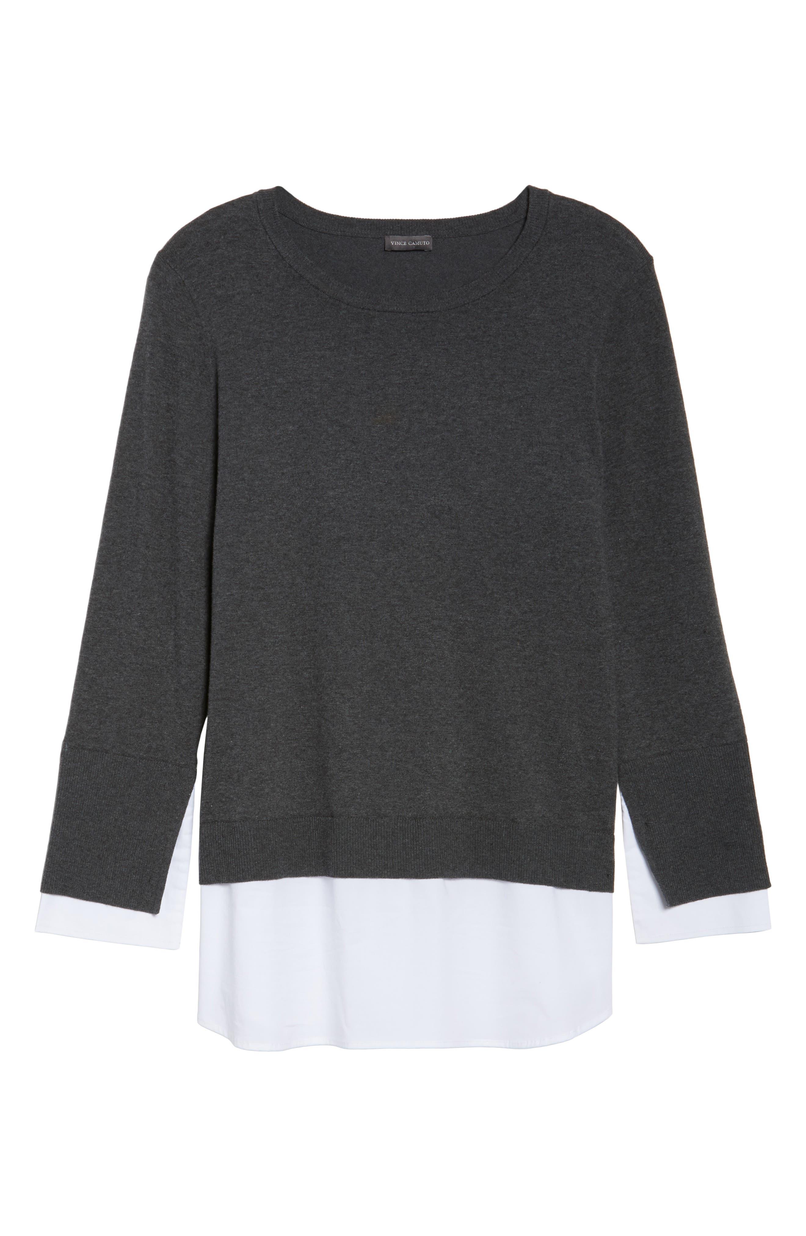Layered Look Sweater,                             Alternate thumbnail 6, color,                             Medium Heather Grey