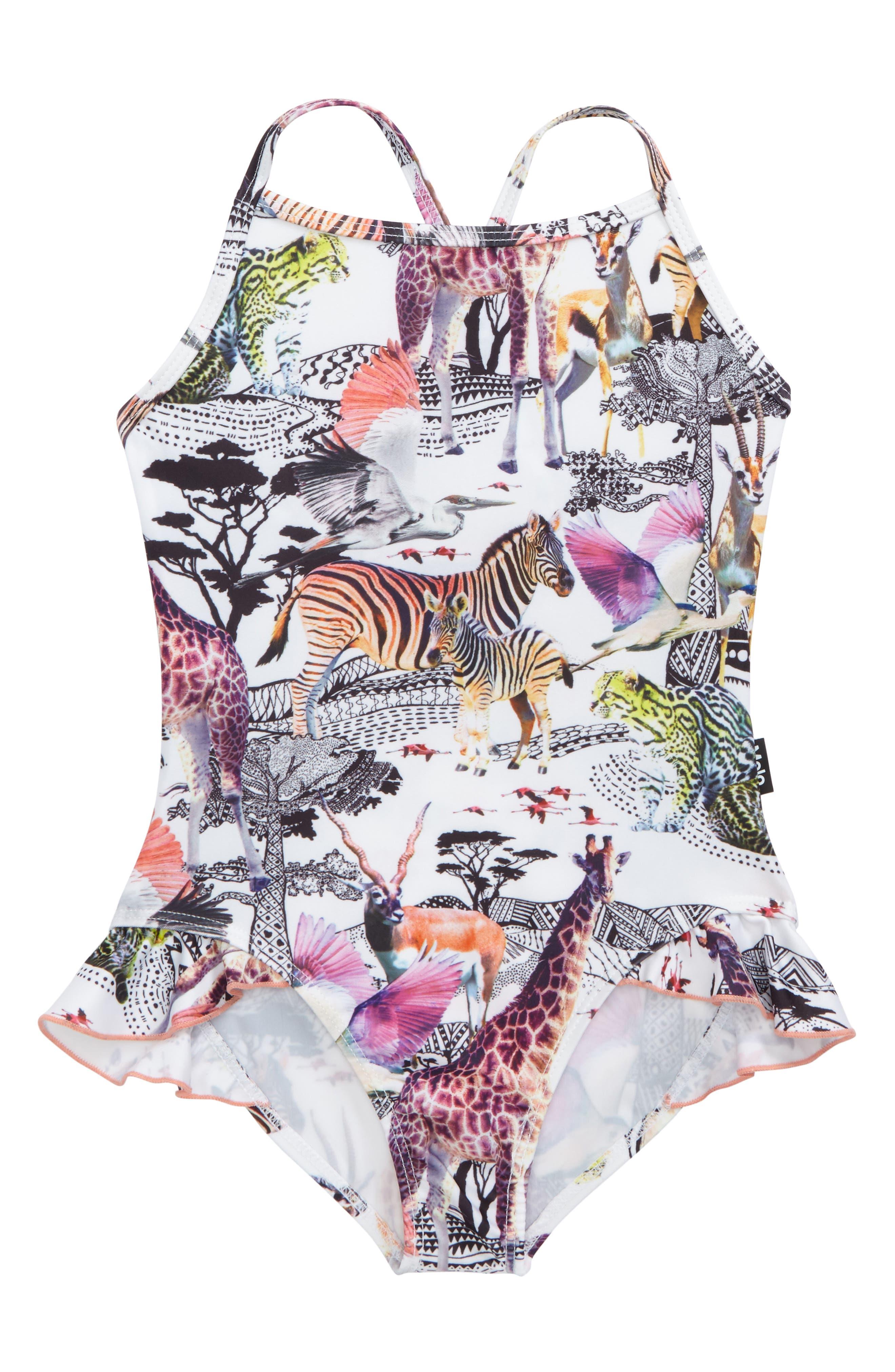 Main Image - molo Noona Ruffle One-Piece Swimsuit (Toddler Girls, Little Girls & Big Girls)