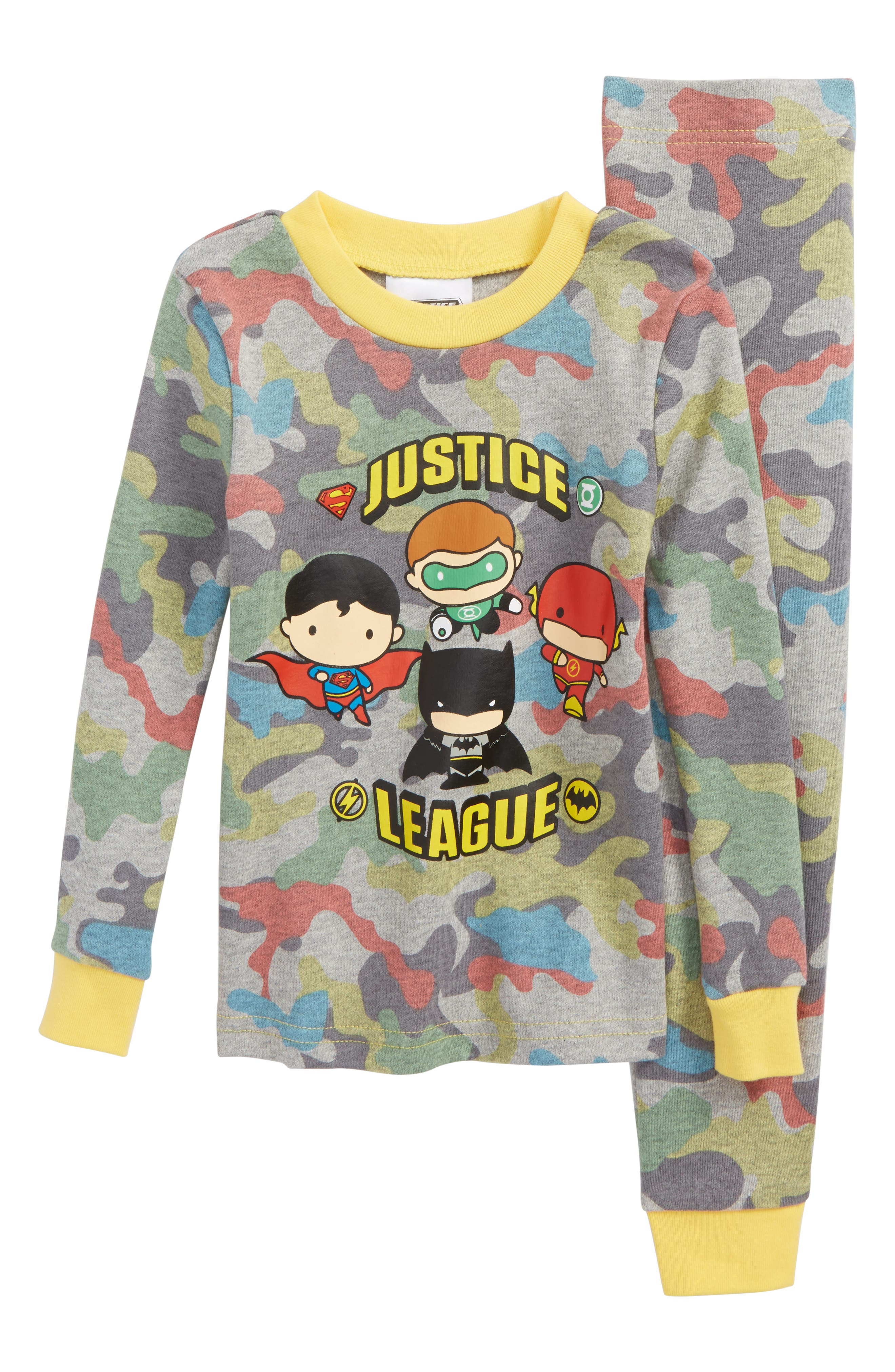 Justice League<sup>™</sup> Fitted Two-Piece Pajamas Set,                         Main,                         color, Grey