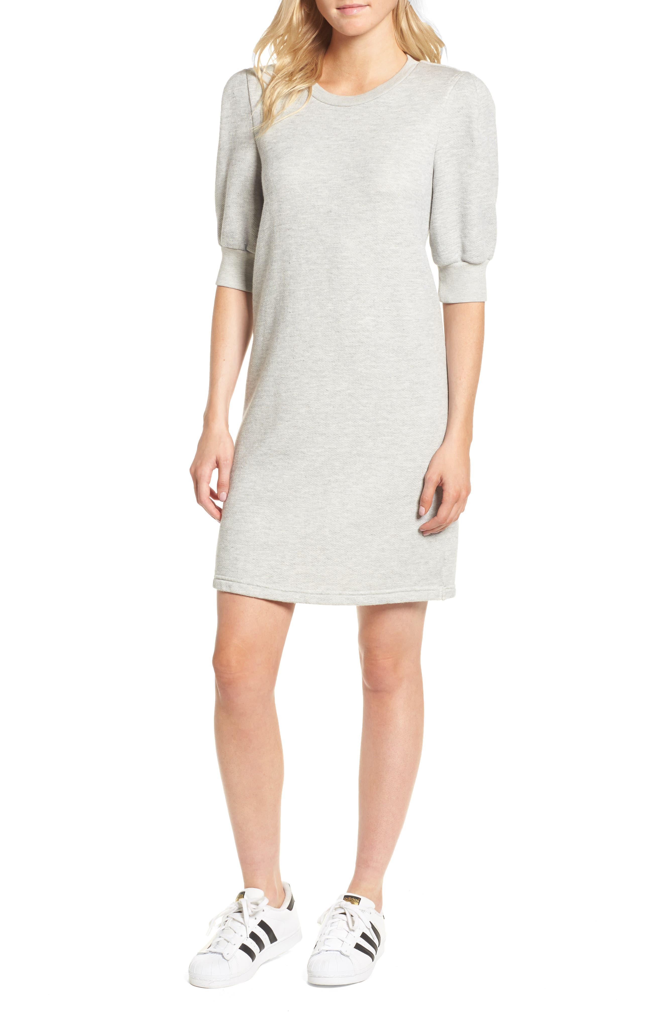 The Pleat Sweatshirt Dress,                             Main thumbnail 1, color,                             Light Heather Grey Terry