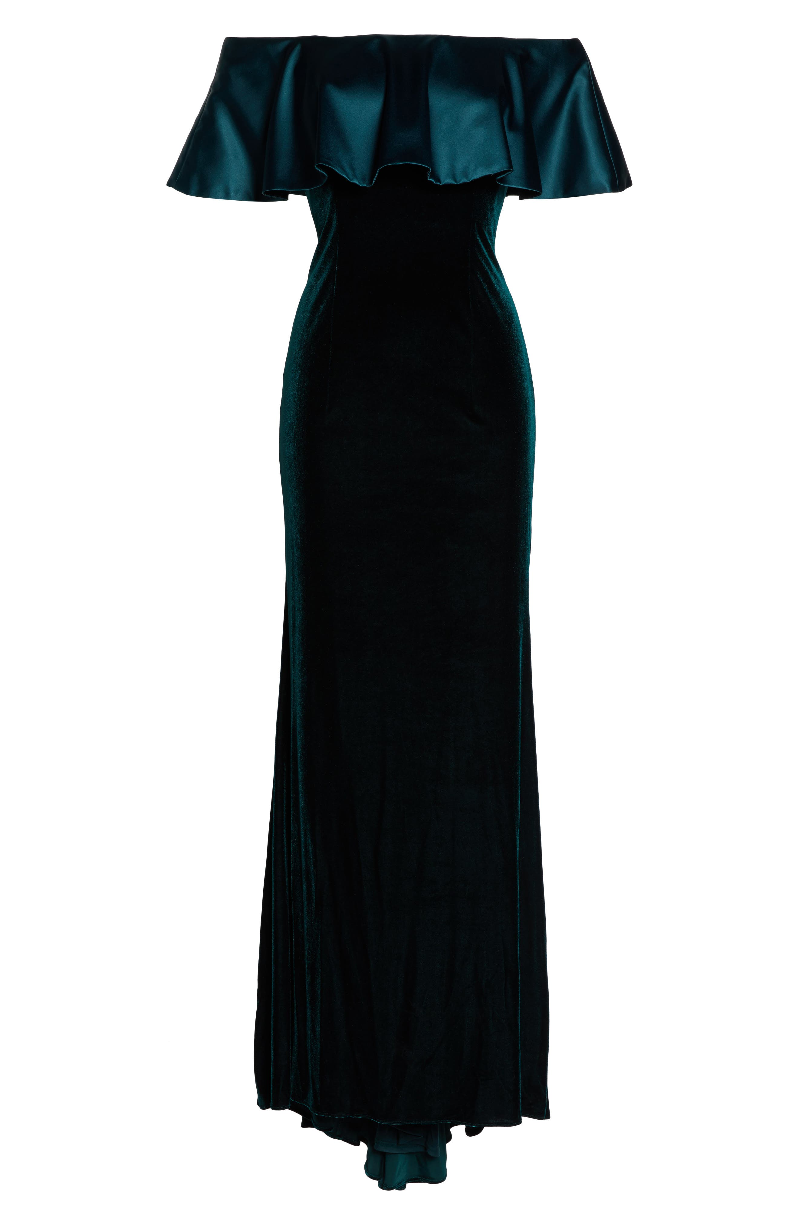 Ruffle Off the Shoulder Velvet Gown,                             Main thumbnail 1, color,                             Emerald