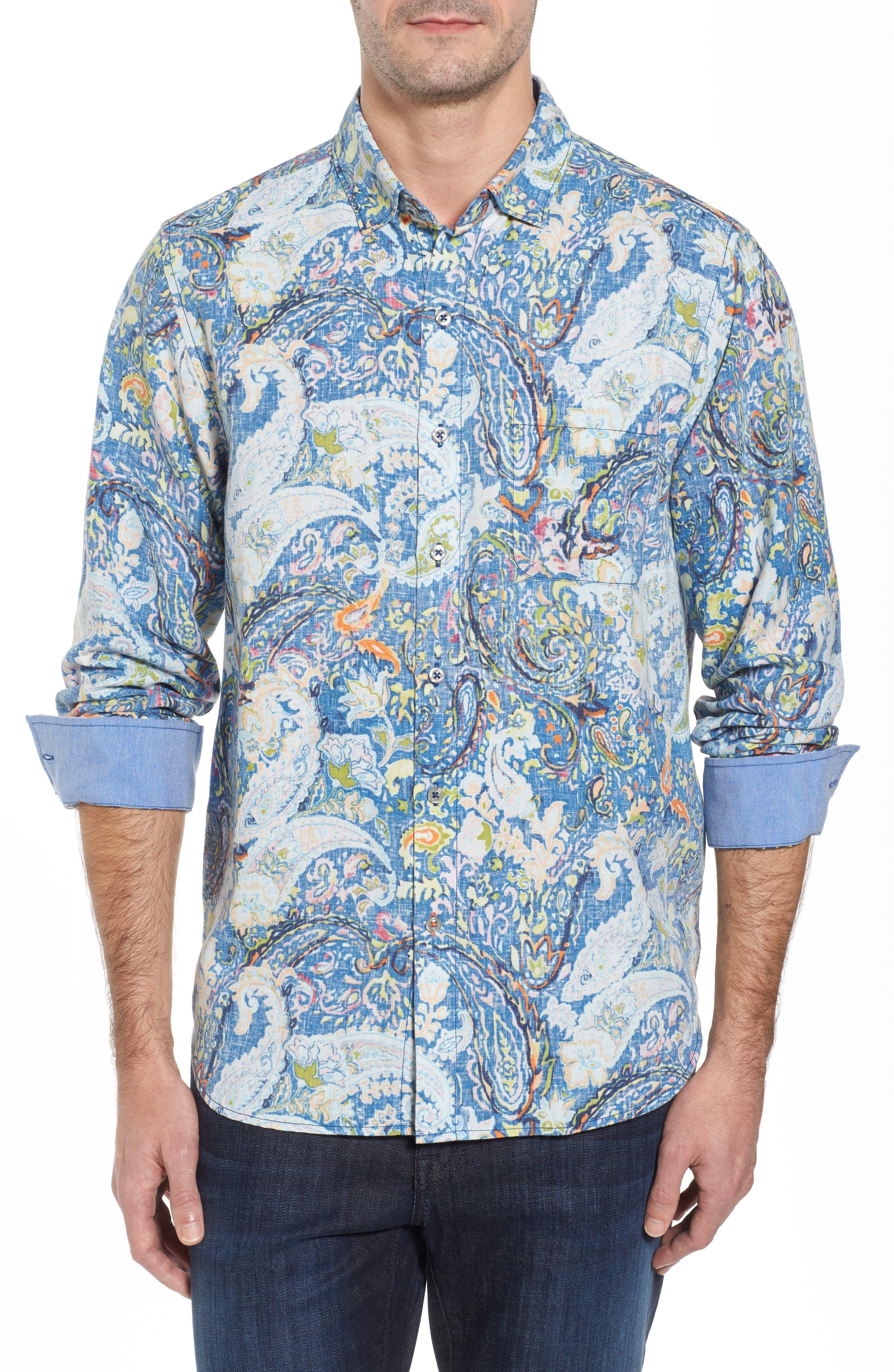 Paisley Promenade Sport Shirt,                         Main,                         color, Galaxy Blue