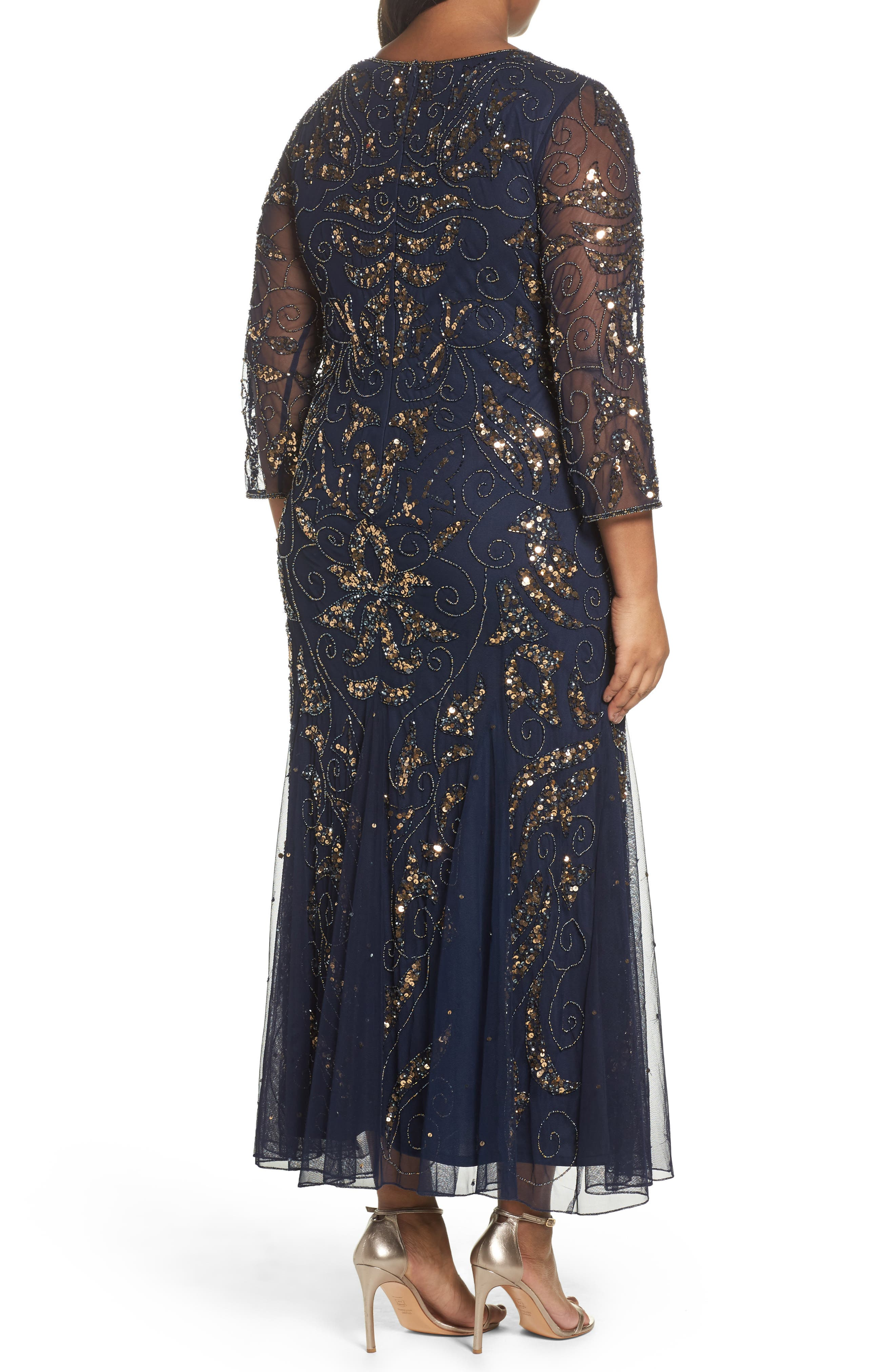Embellished Three Quarter Sleeve Gown,                             Alternate thumbnail 2, color,                             Navy/ Gold