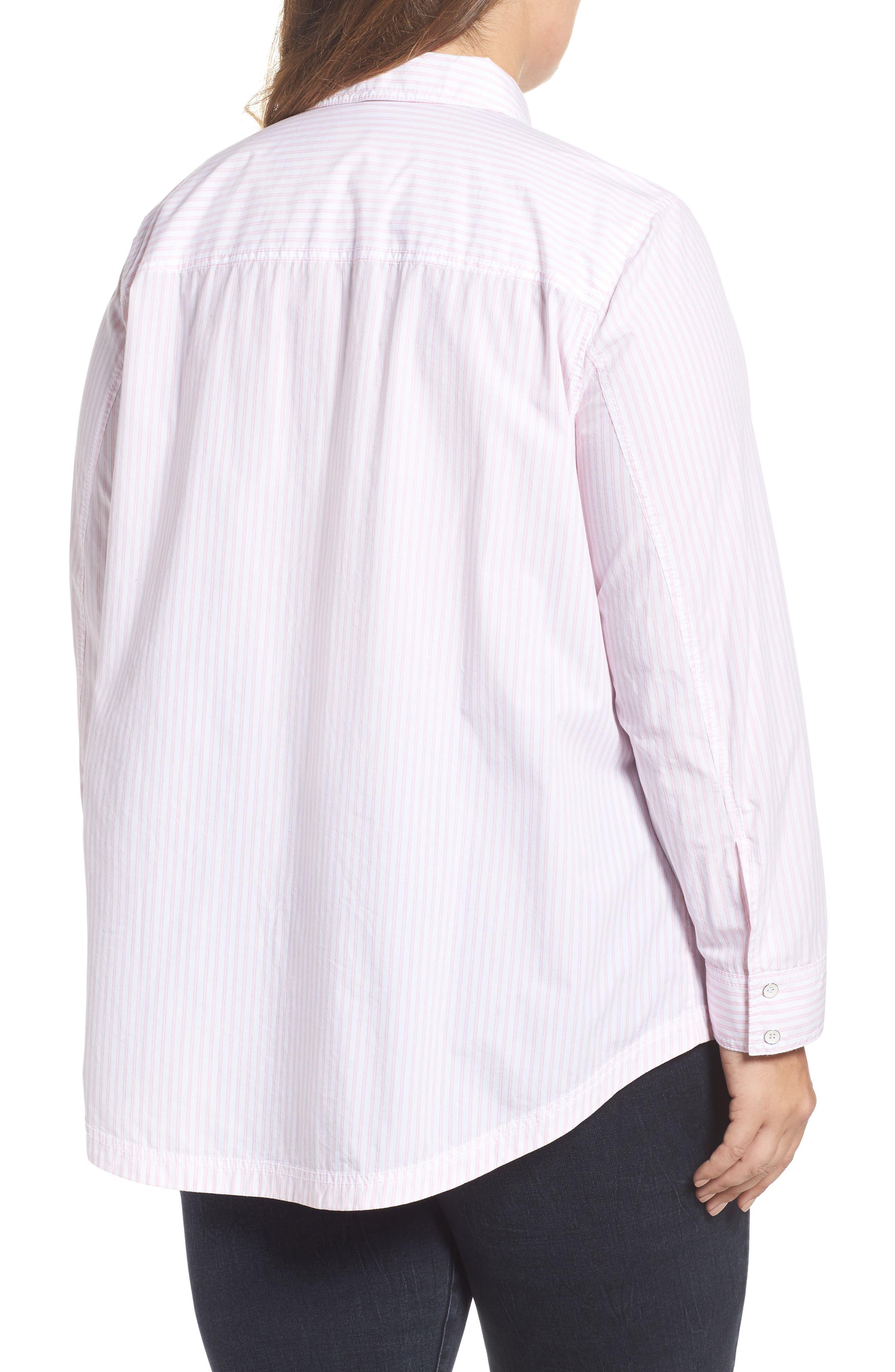 Alternate Image 2  - Caslon® Stripe Button Front Shirt (Plus Size)