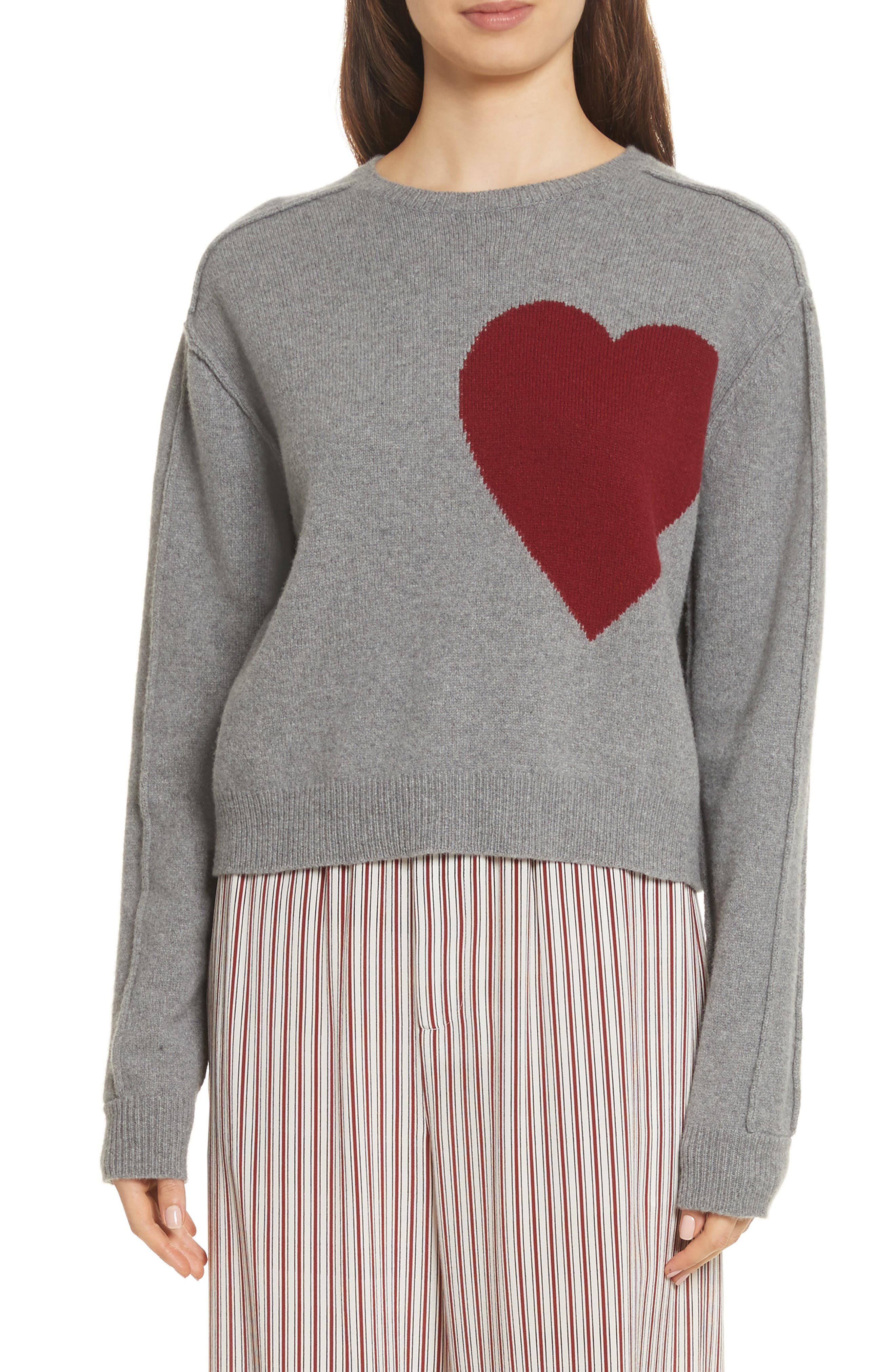 Heart Wool & Cashmere Sweater,                             Main thumbnail 1, color,                             Grey