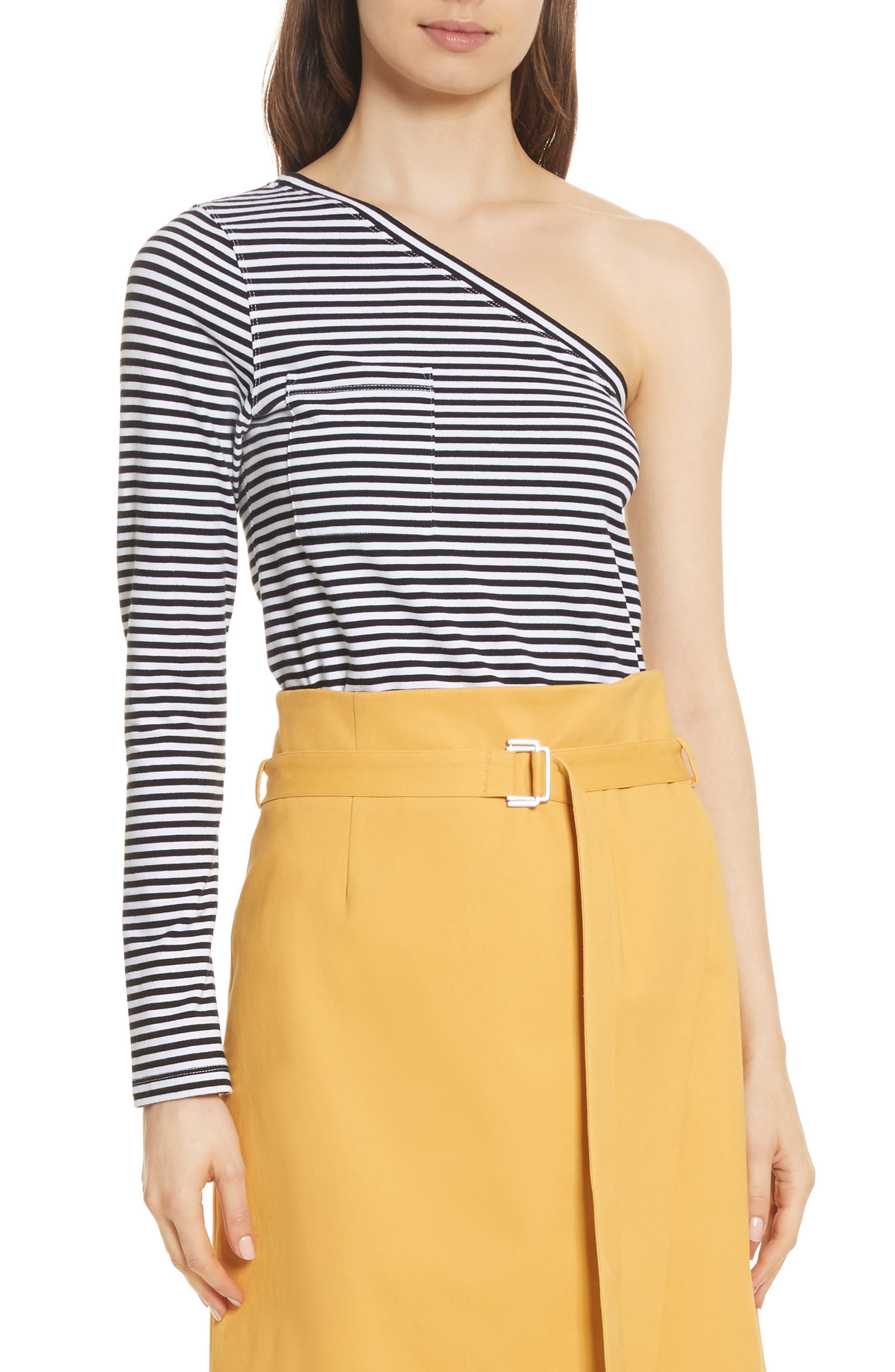 One ShoulderStripe Tee,                         Main,                         color, Black Stripe
