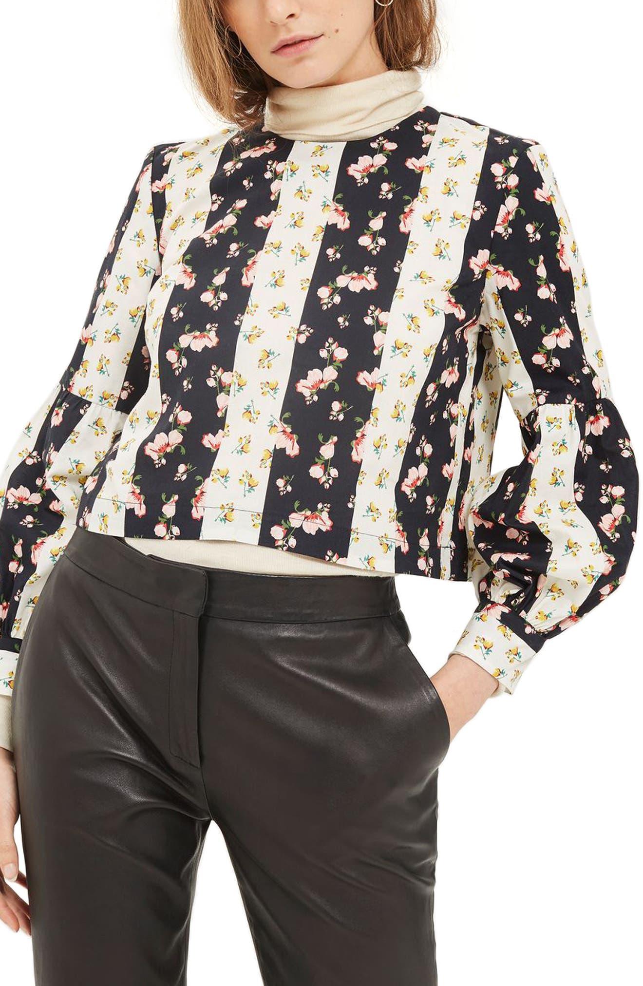 Block Floral Stripe Top,                             Main thumbnail 1, color,                             Black Multi