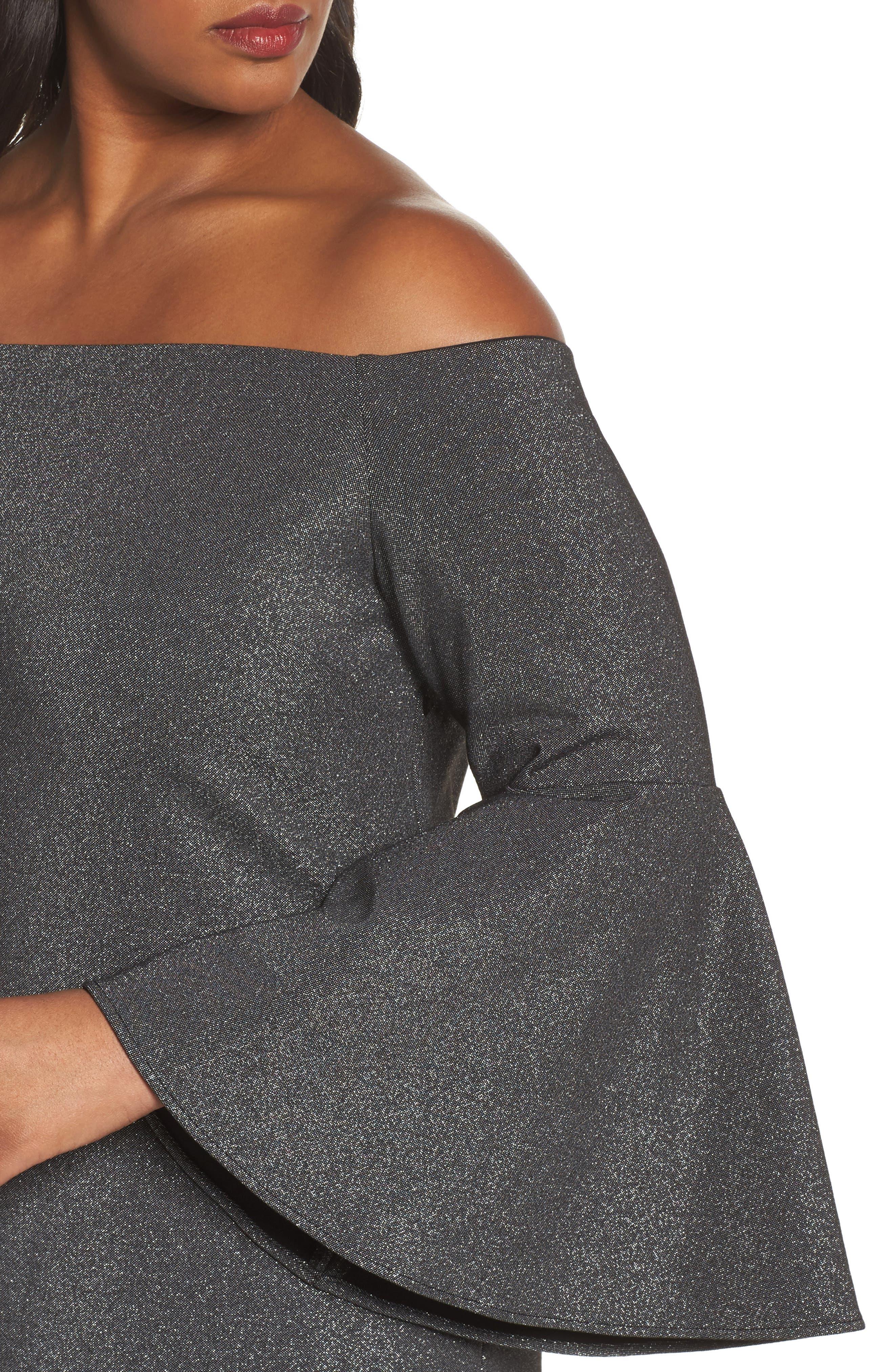 Off the Shoulder Metallic Sheath Dress,                             Alternate thumbnail 4, color,                             Rich Black