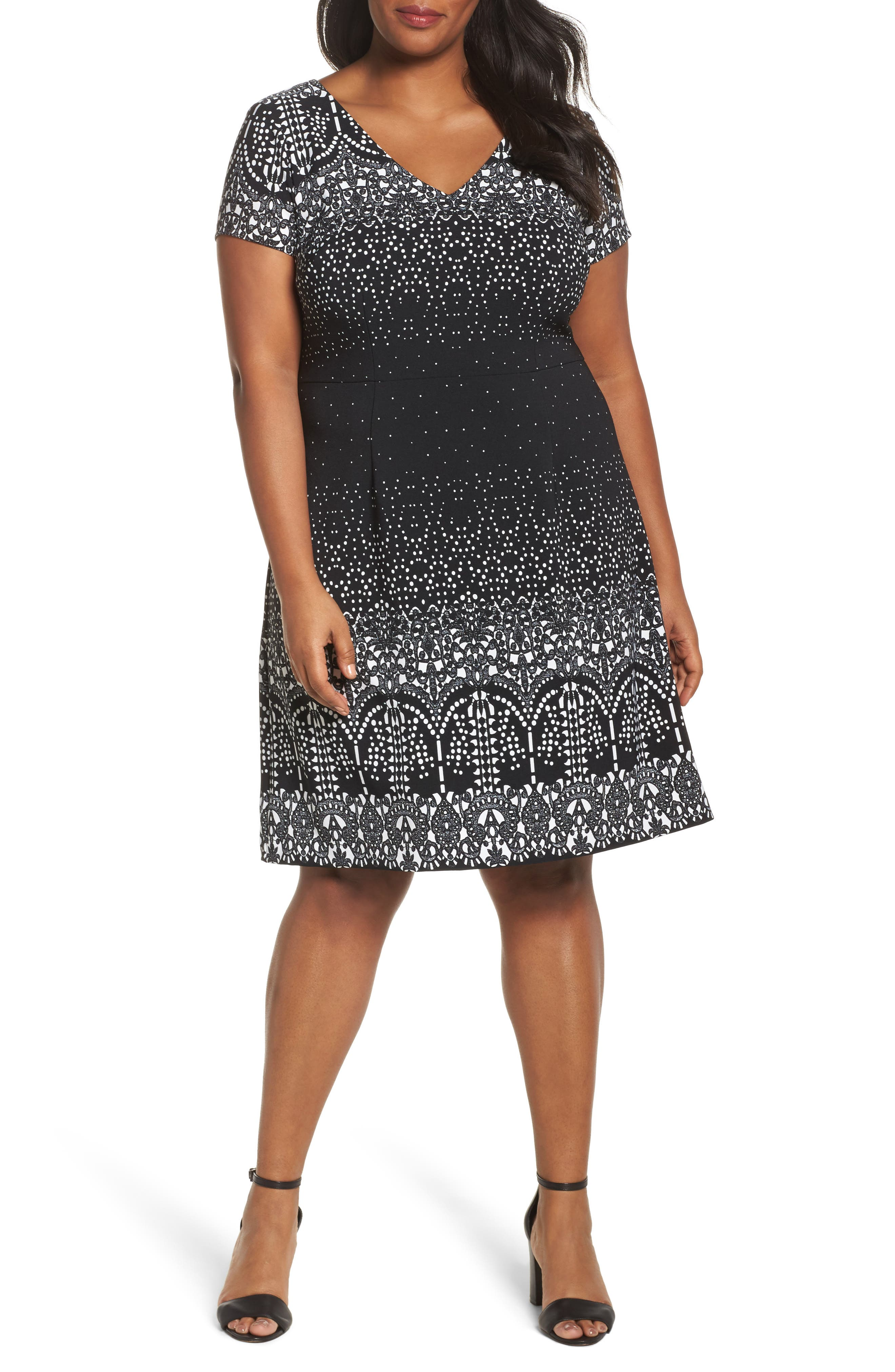 Lace Majesty Print A-Line Dress,                             Main thumbnail 1, color,                             Black Multi