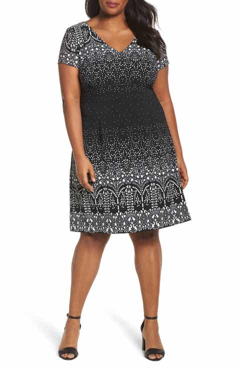 Adrianna Papell Lace Majesty Print A-Line Dress (Plus Size)