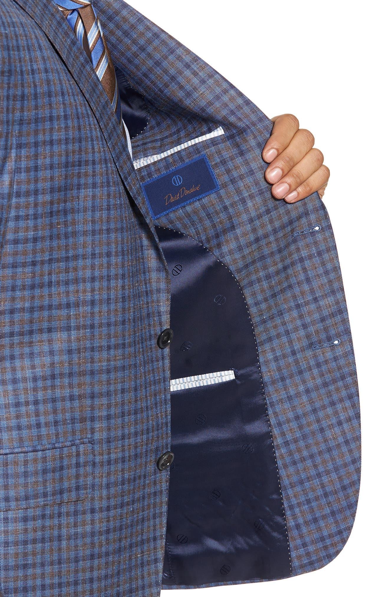 Alternate Image 4  - David Donahue Ashton Classic Fit Stretch Check Wool Blend Sport Coat