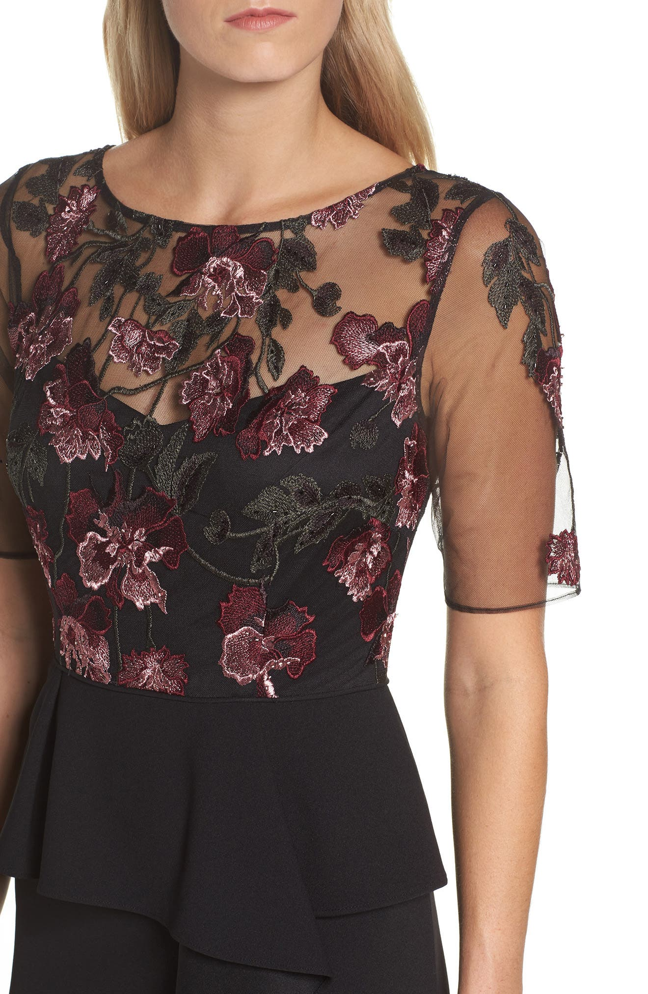 Embroidered Ruffle Gown,                             Alternate thumbnail 4, color,                             Cabernet Multi