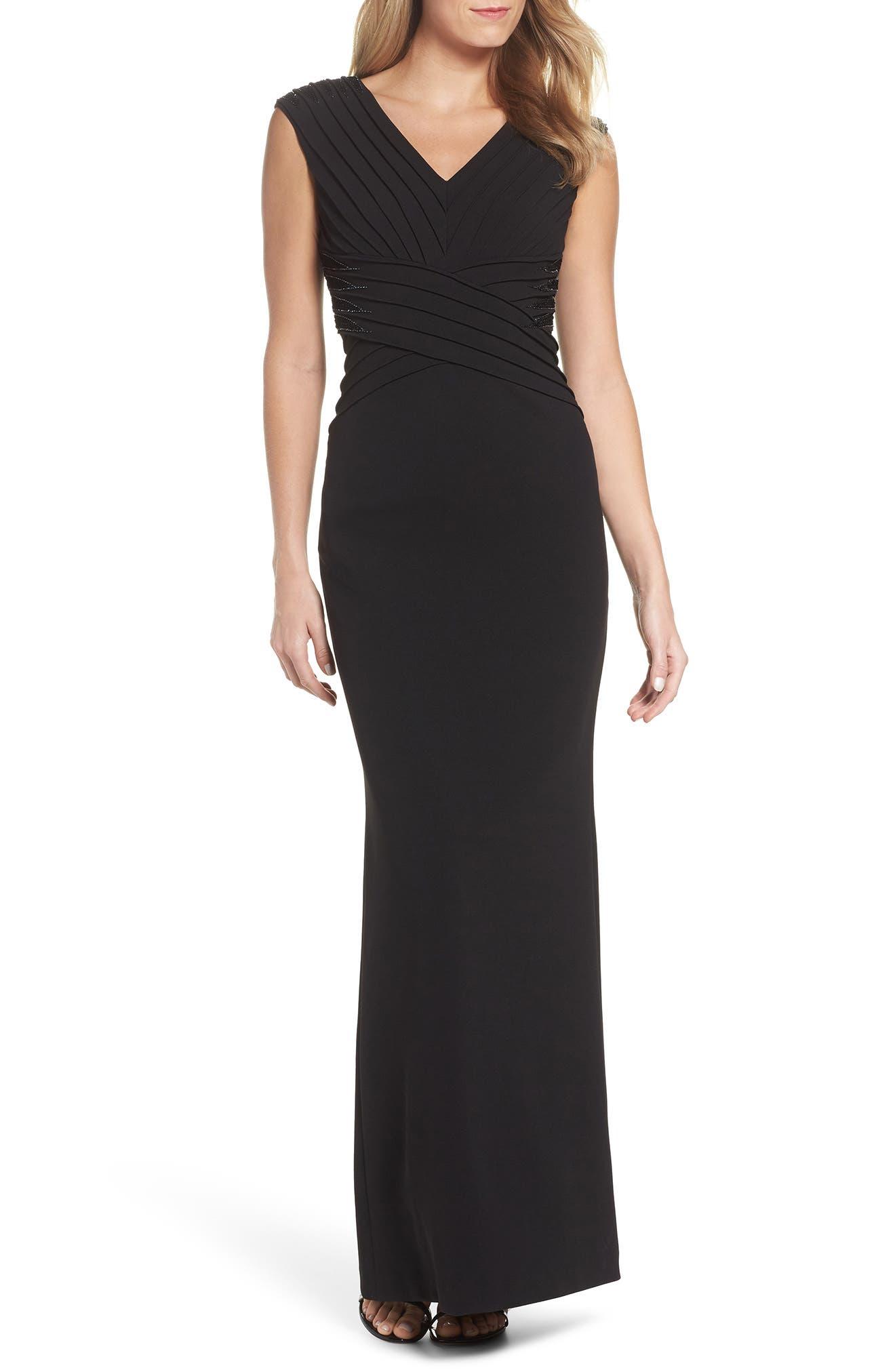 Pintuck Crepe Gown,                             Main thumbnail 1, color,                             Black