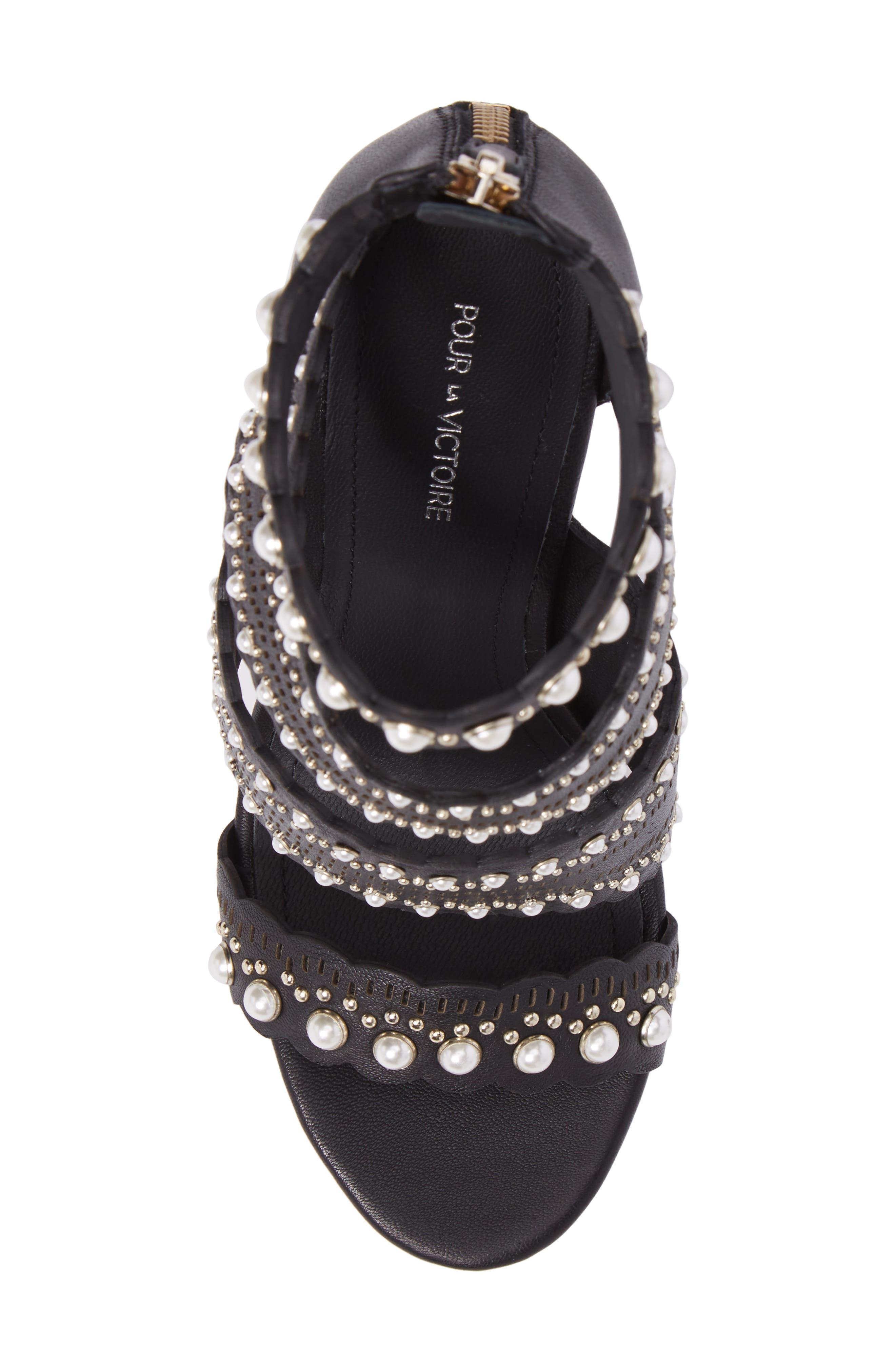 Ellura Scalloped Strap Sandal,                             Alternate thumbnail 5, color,                             Black Leather