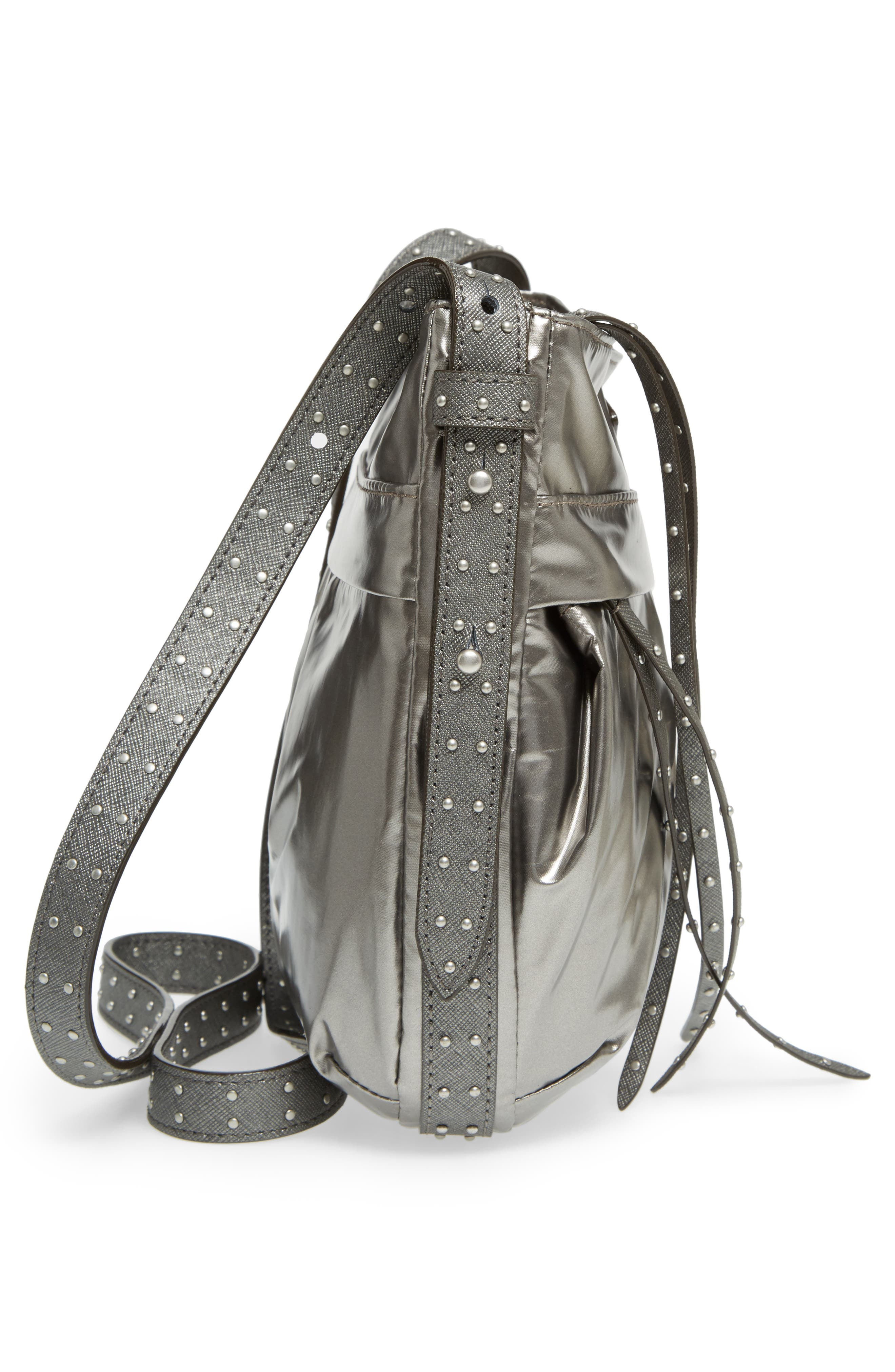 Harlow Crossbody Bag,                             Alternate thumbnail 5, color,                             Pewter Leather Cococha