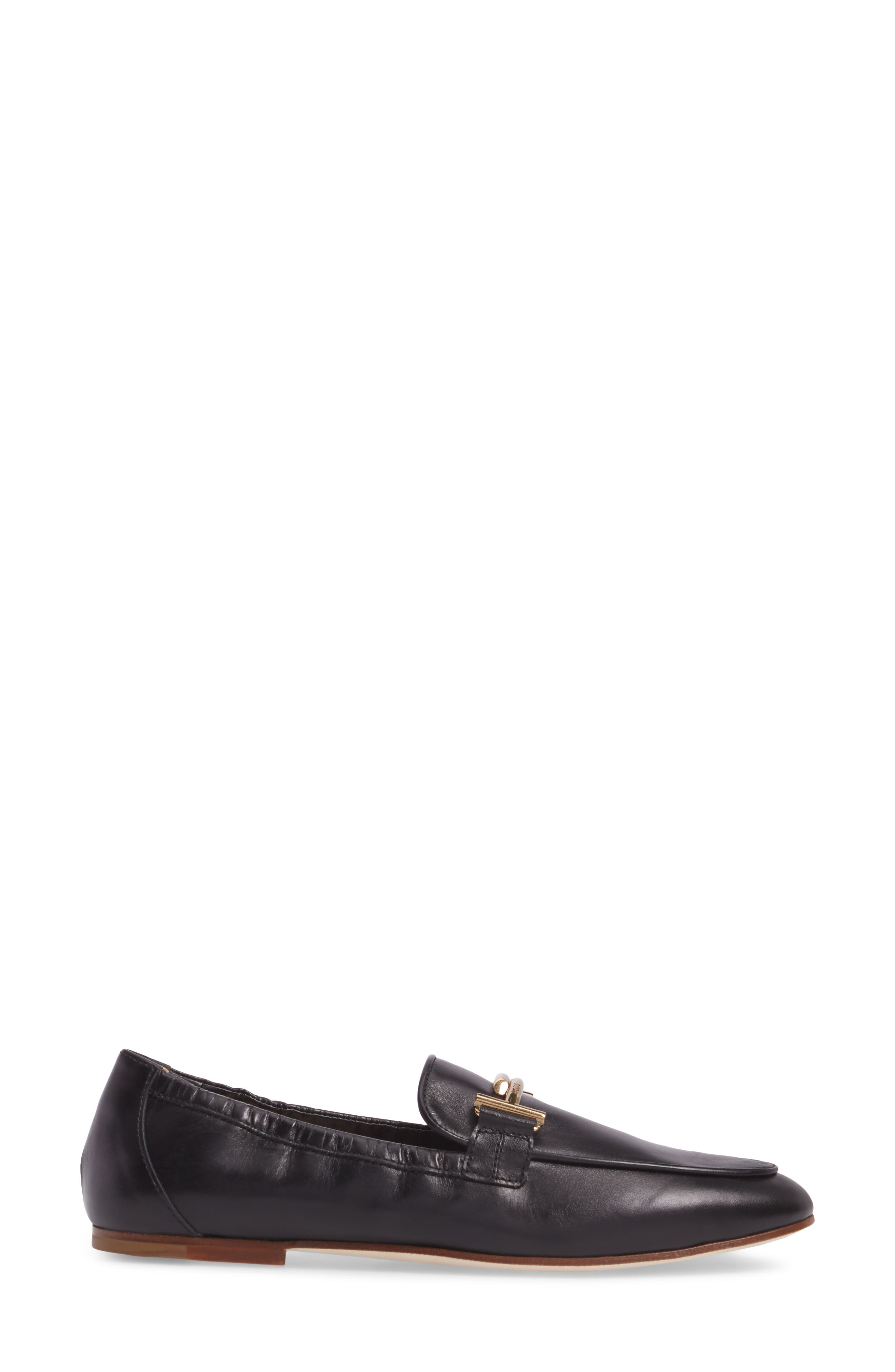 Double T Scrunch Loafer,                             Alternate thumbnail 3, color,                             Black