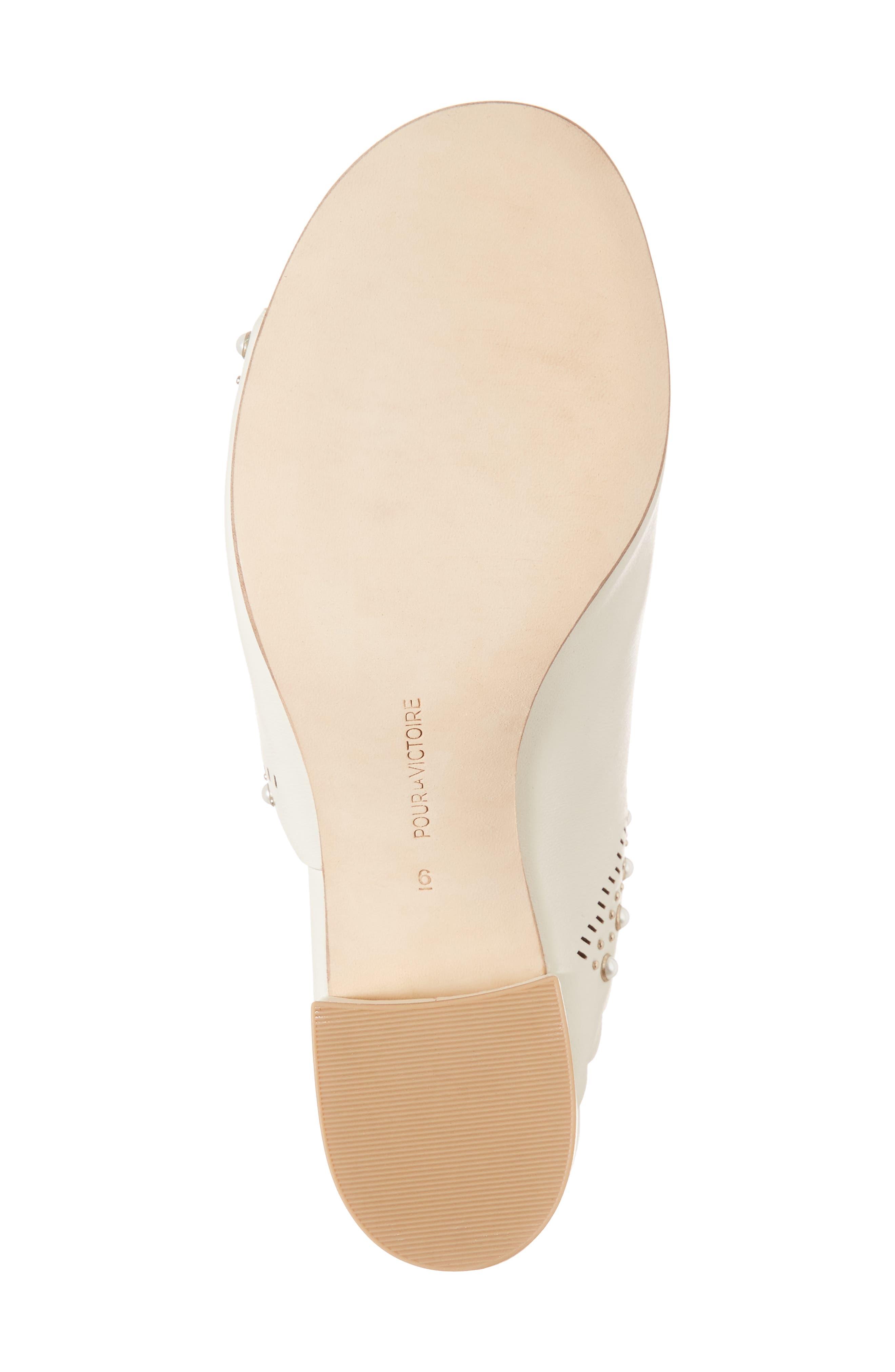 Amela Embellished Slide Sandal,                             Alternate thumbnail 6, color,                             Bone Leather