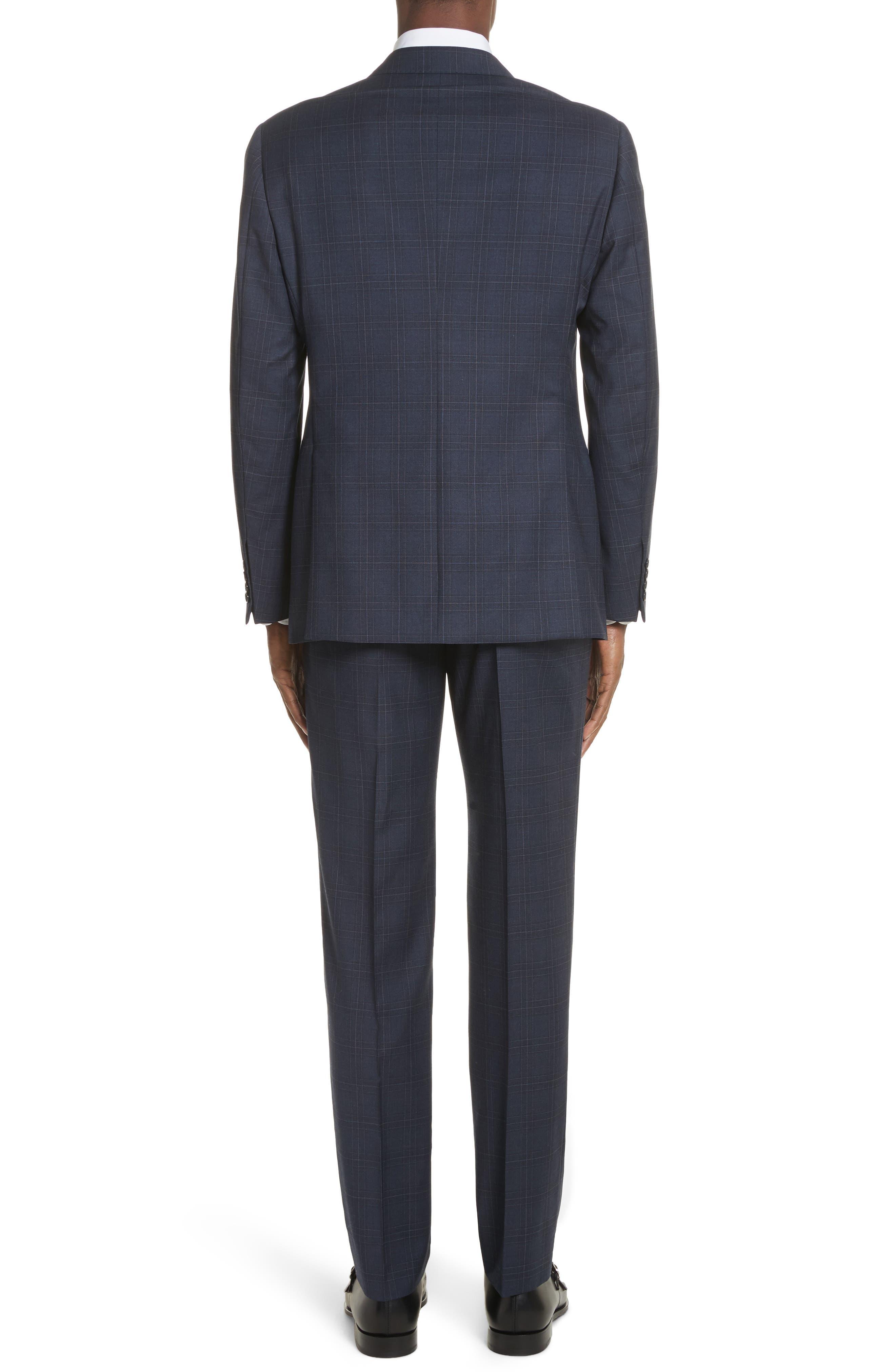 G Line Trim Fit Plaid Wool Suit,                             Alternate thumbnail 2, color,                             Navy