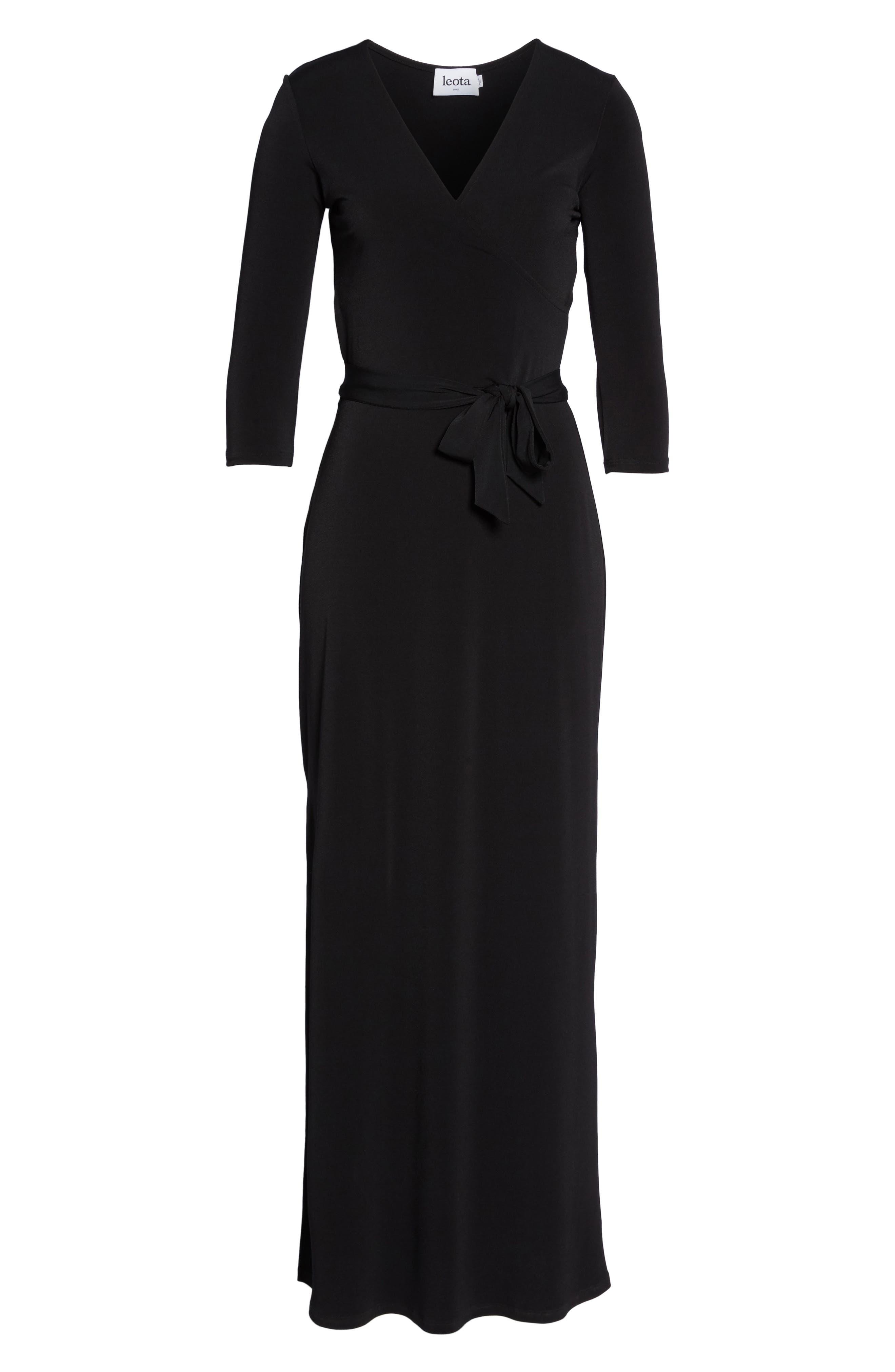 Perfect Wrap Maxi Dress,                             Alternate thumbnail 5, color,                             Black Crepe