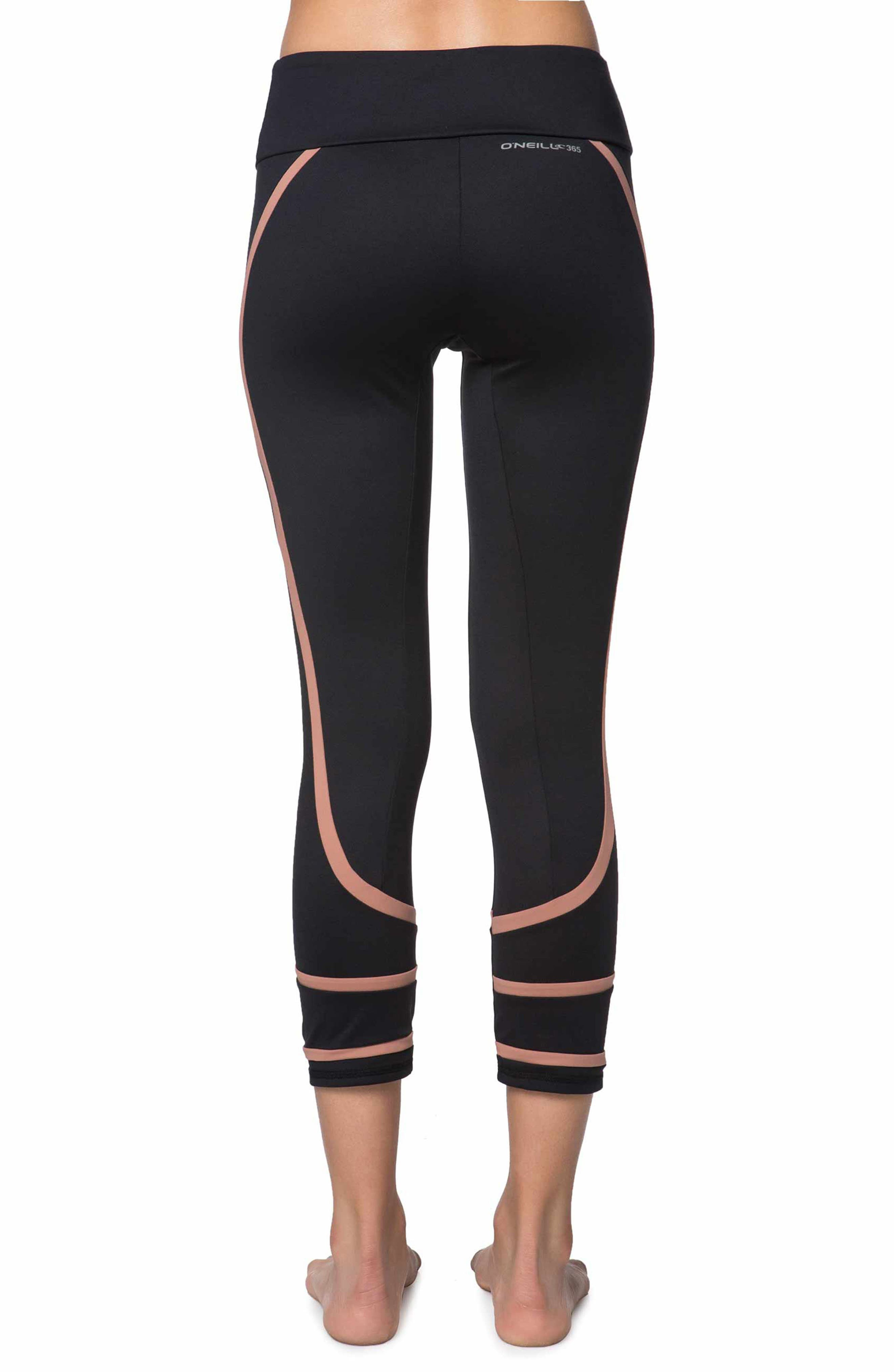 Coastal Block Crop Leggings,                             Alternate thumbnail 2, color,                             Black