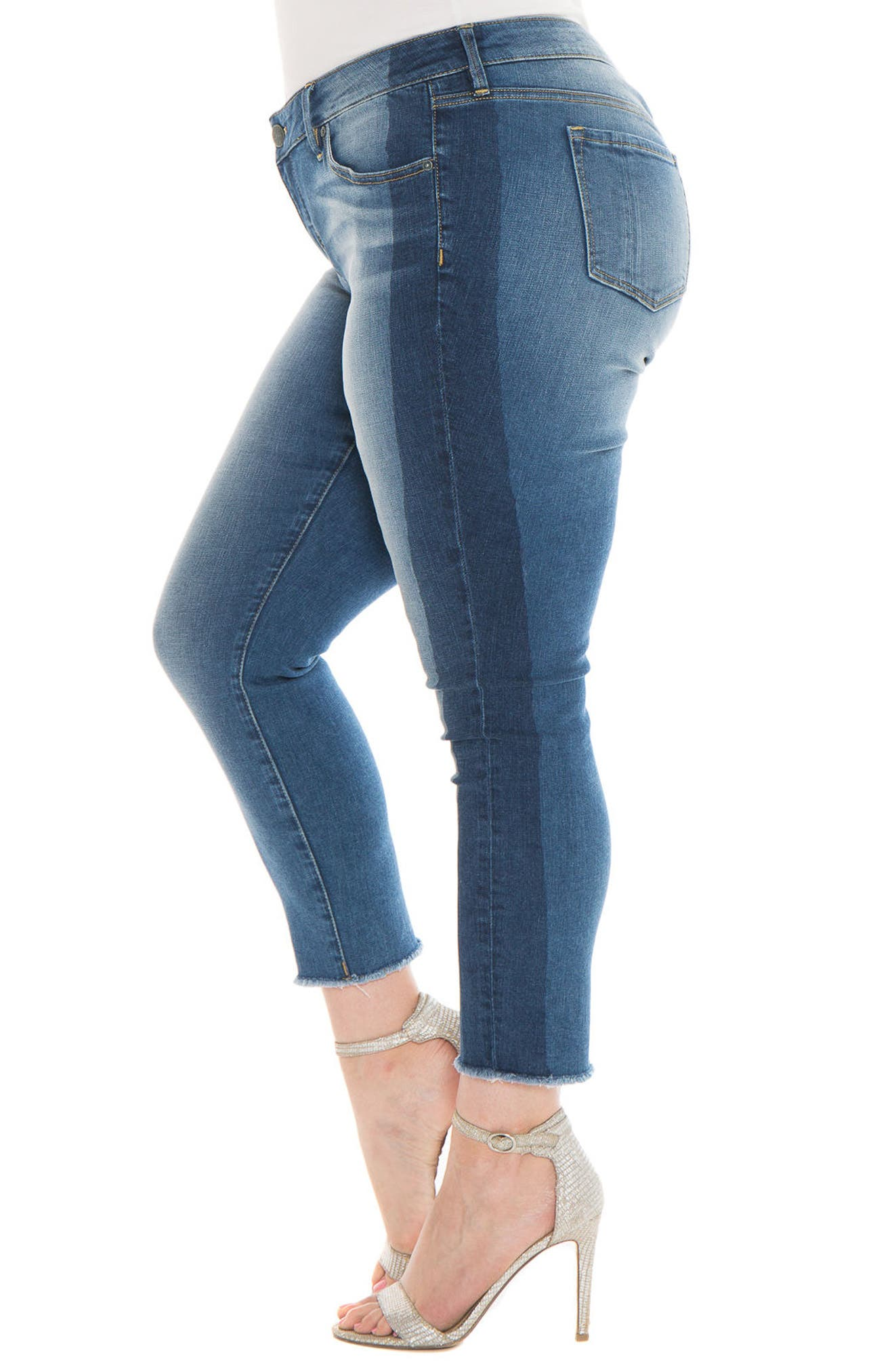Shadow Mix Frayed Ankle Jeans,                             Alternate thumbnail 4, color,                             Gwen
