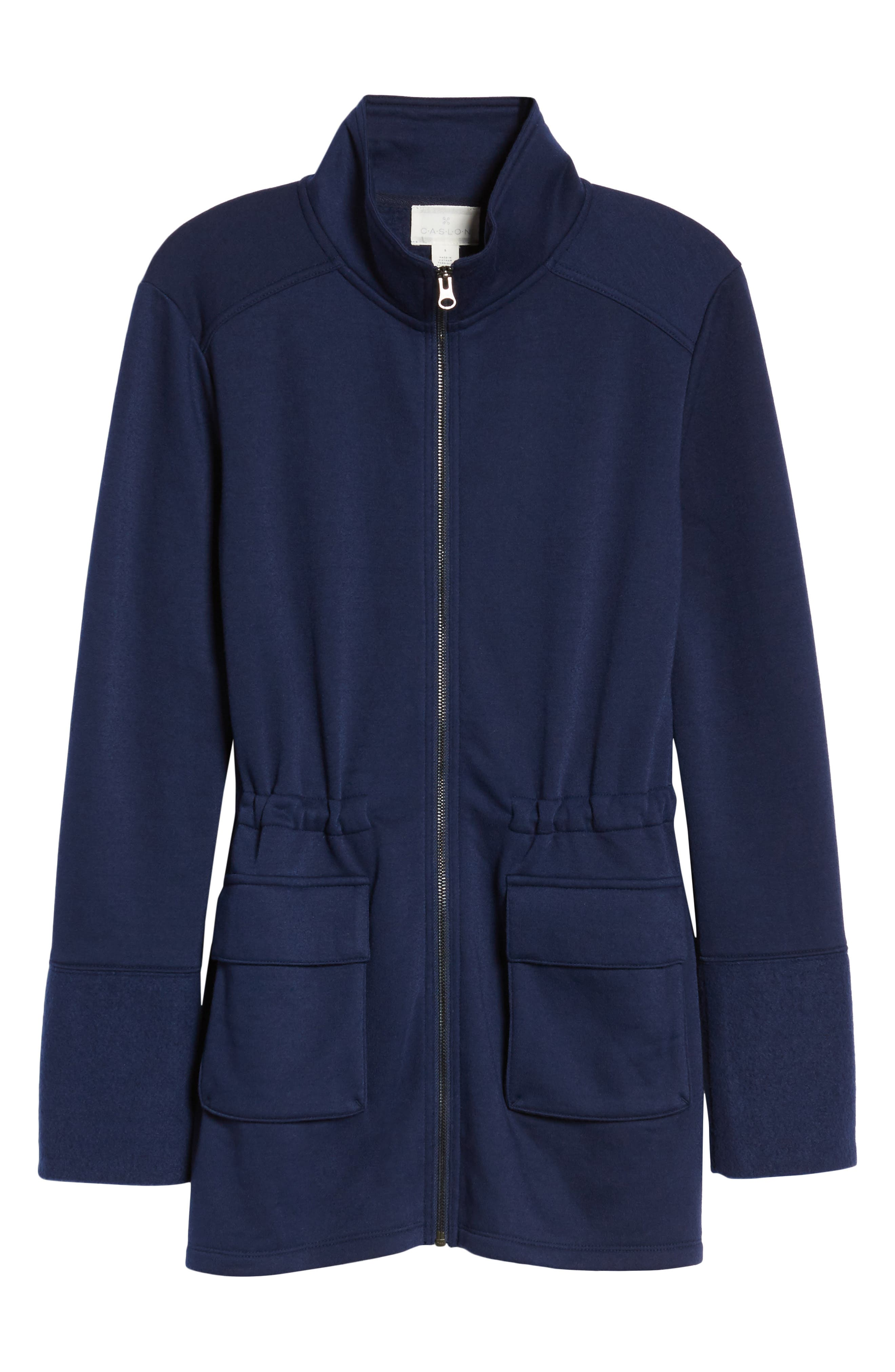 Gathered Waist Front Zip Jacket,                             Alternate thumbnail 6, color,                             Navy Peacoat