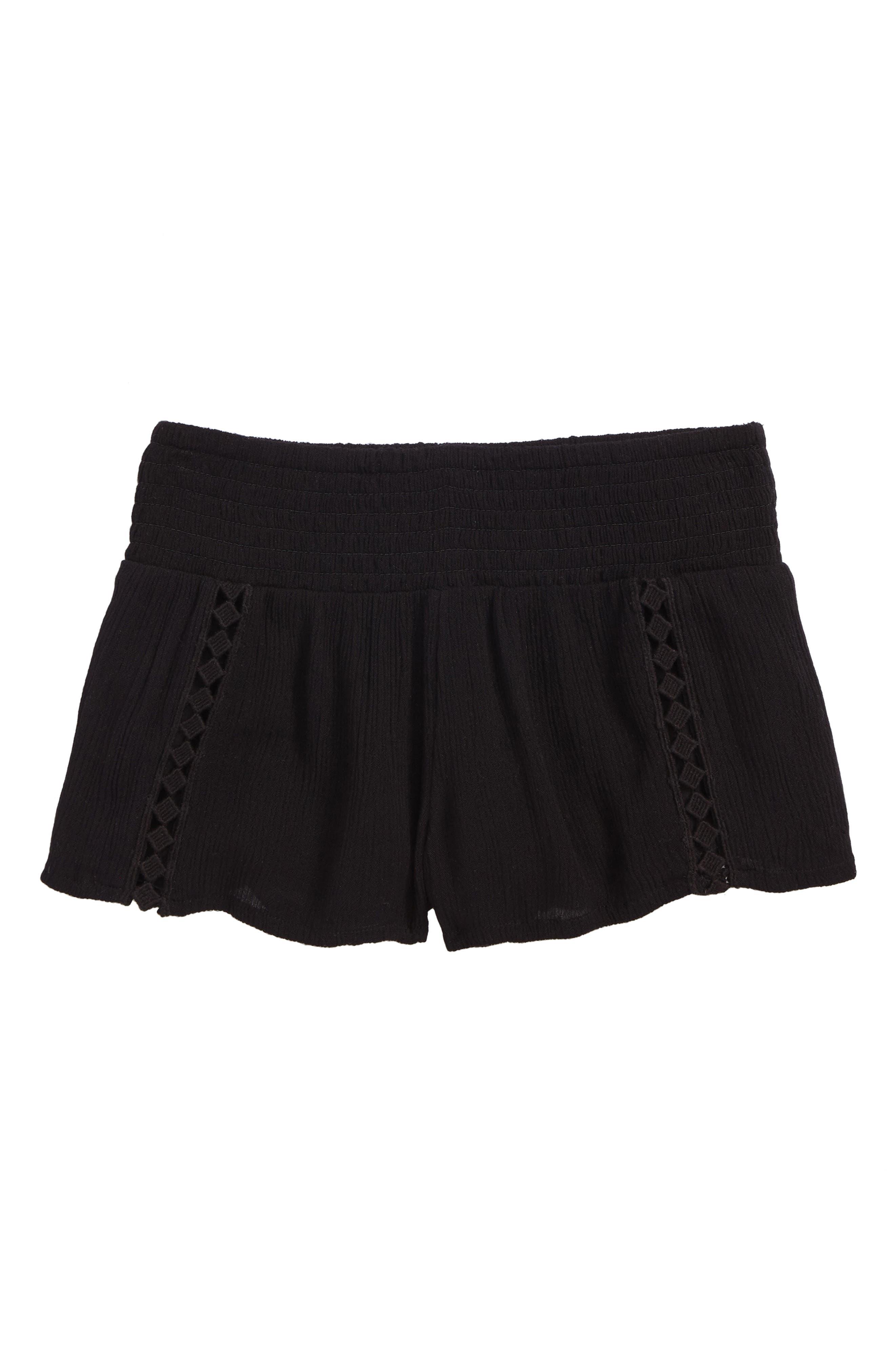 Elsa Smocked Waist Shorts,                             Main thumbnail 1, color,                             Black - Blk