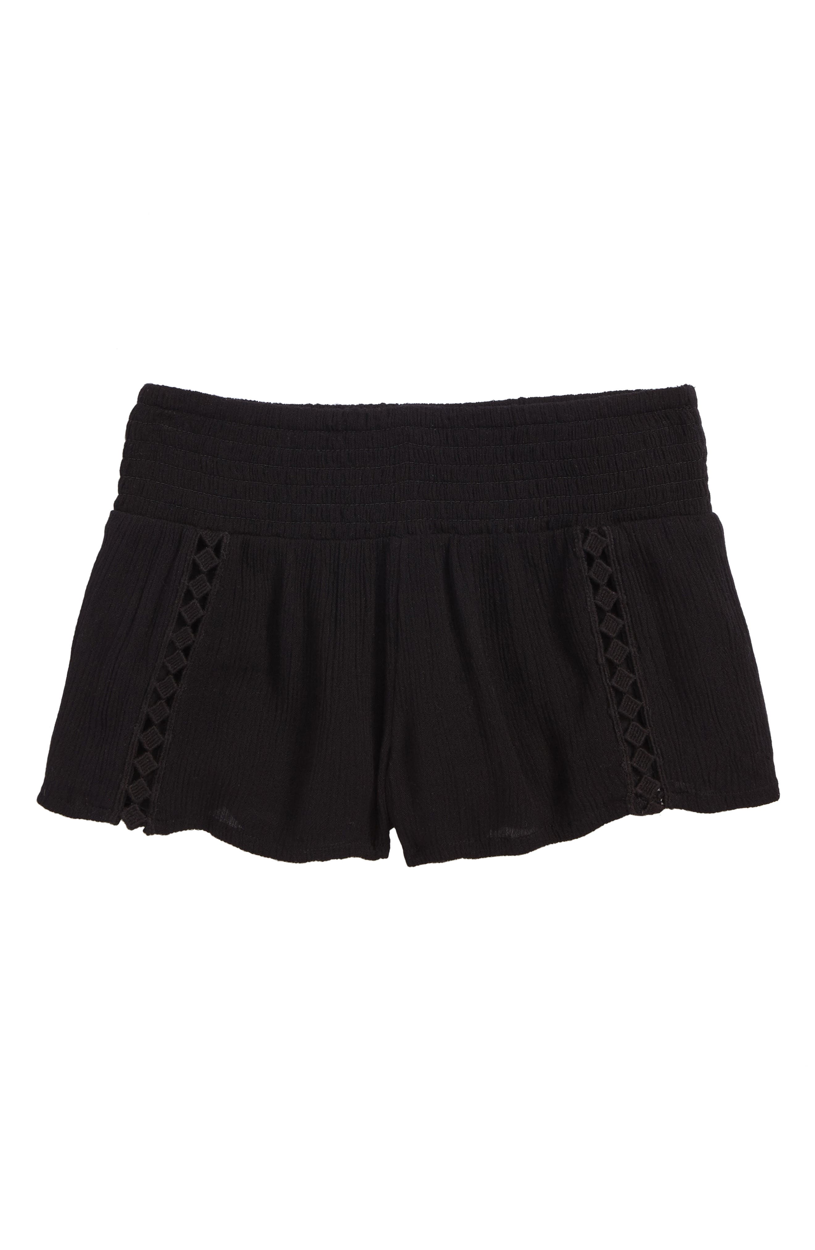 Elsa Smocked Waist Shorts,                         Main,                         color, Black - Blk