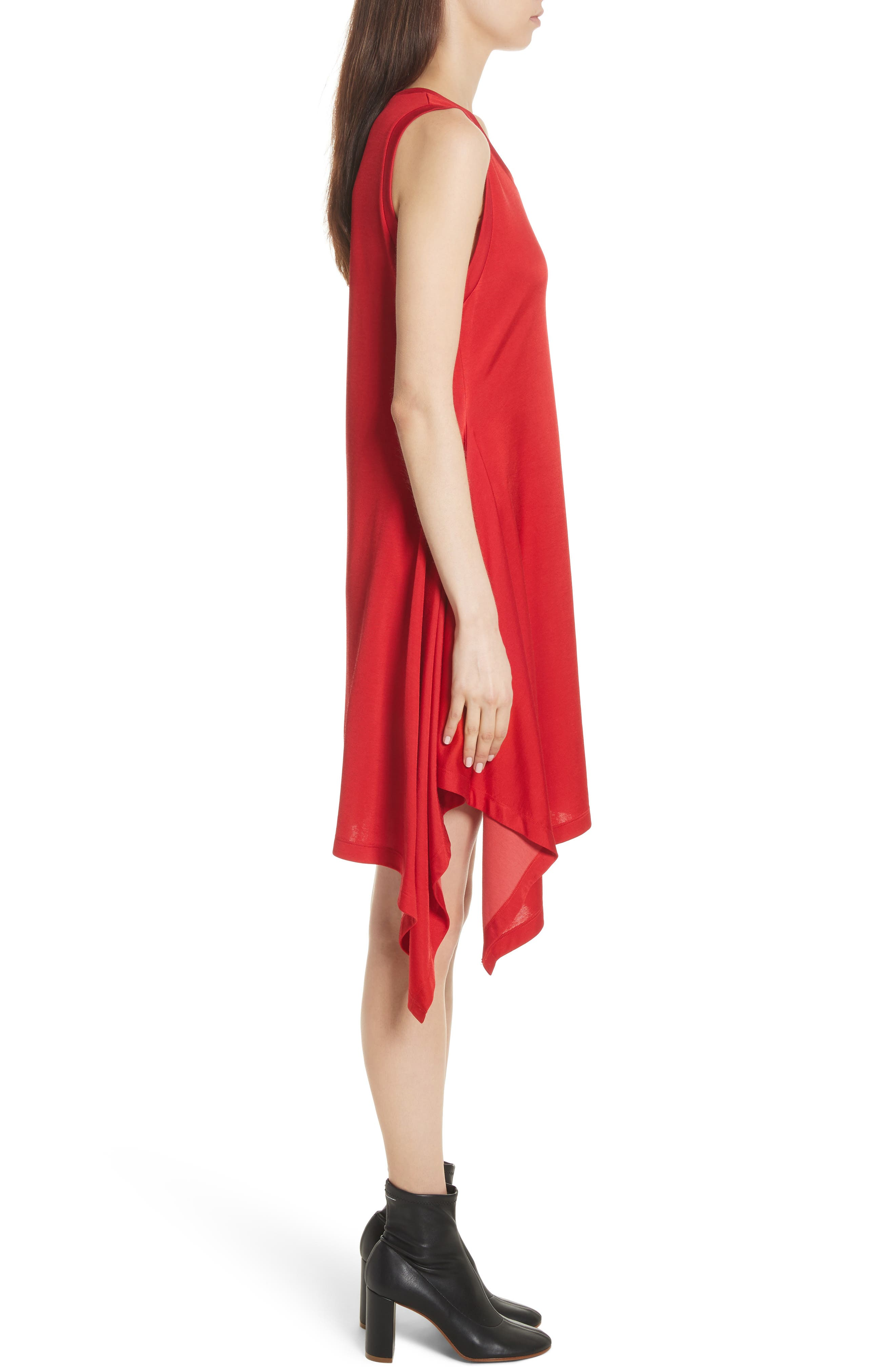 Sporty Asymmetrical Jersey Dress,                             Alternate thumbnail 3, color,                             Red