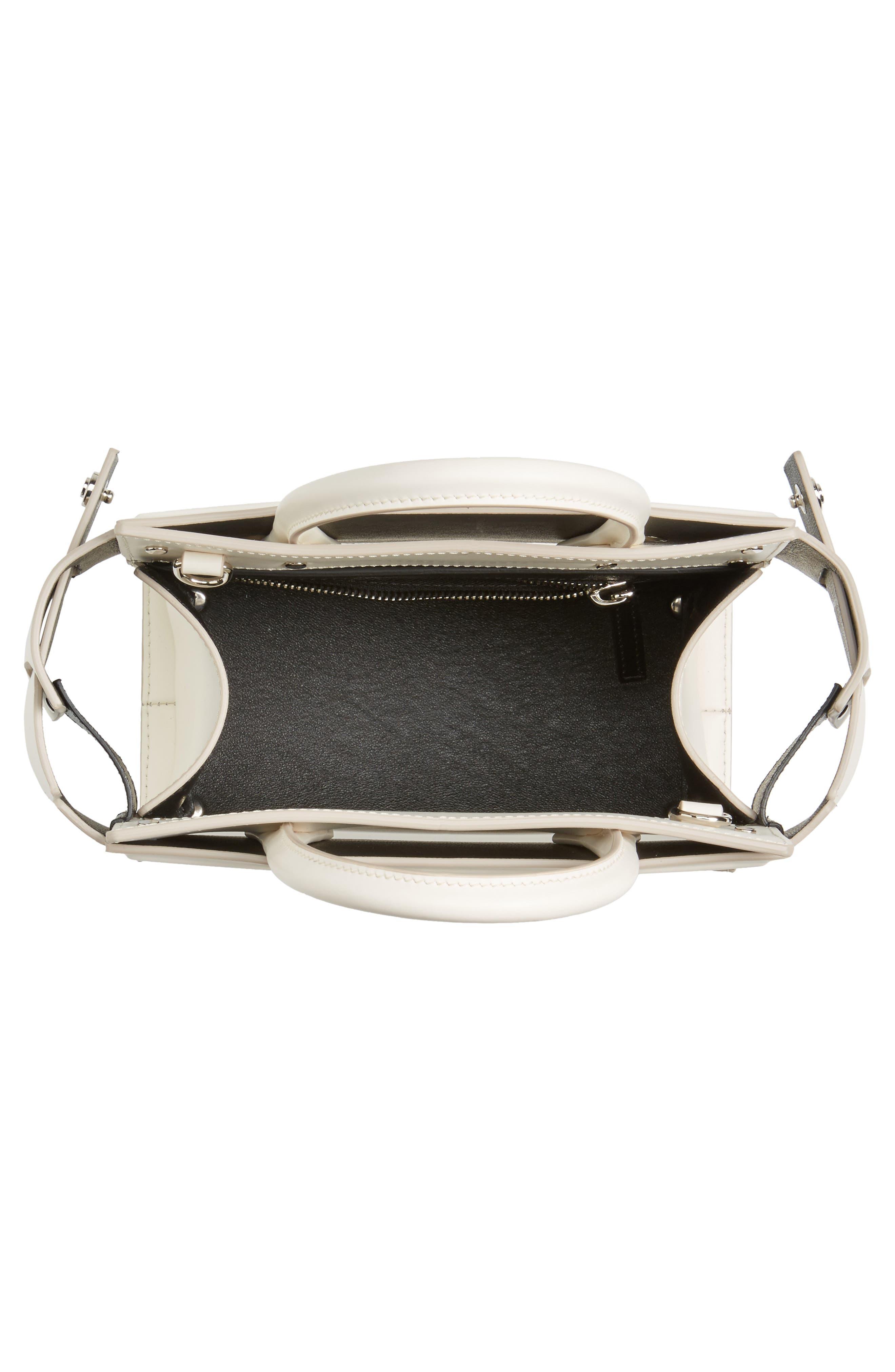 Mini Horizon Calfskin Leather Tote,                             Alternate thumbnail 4, color,                             Off White
