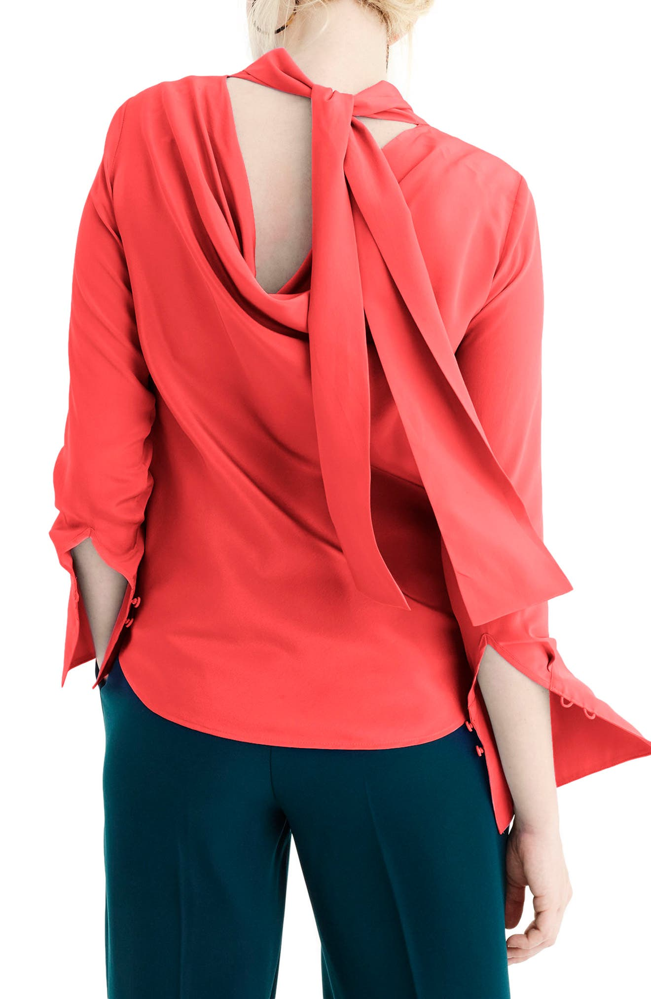 J.Crew Howl Reversible Silk Top,                             Alternate thumbnail 2, color,                             Vibrant Flame