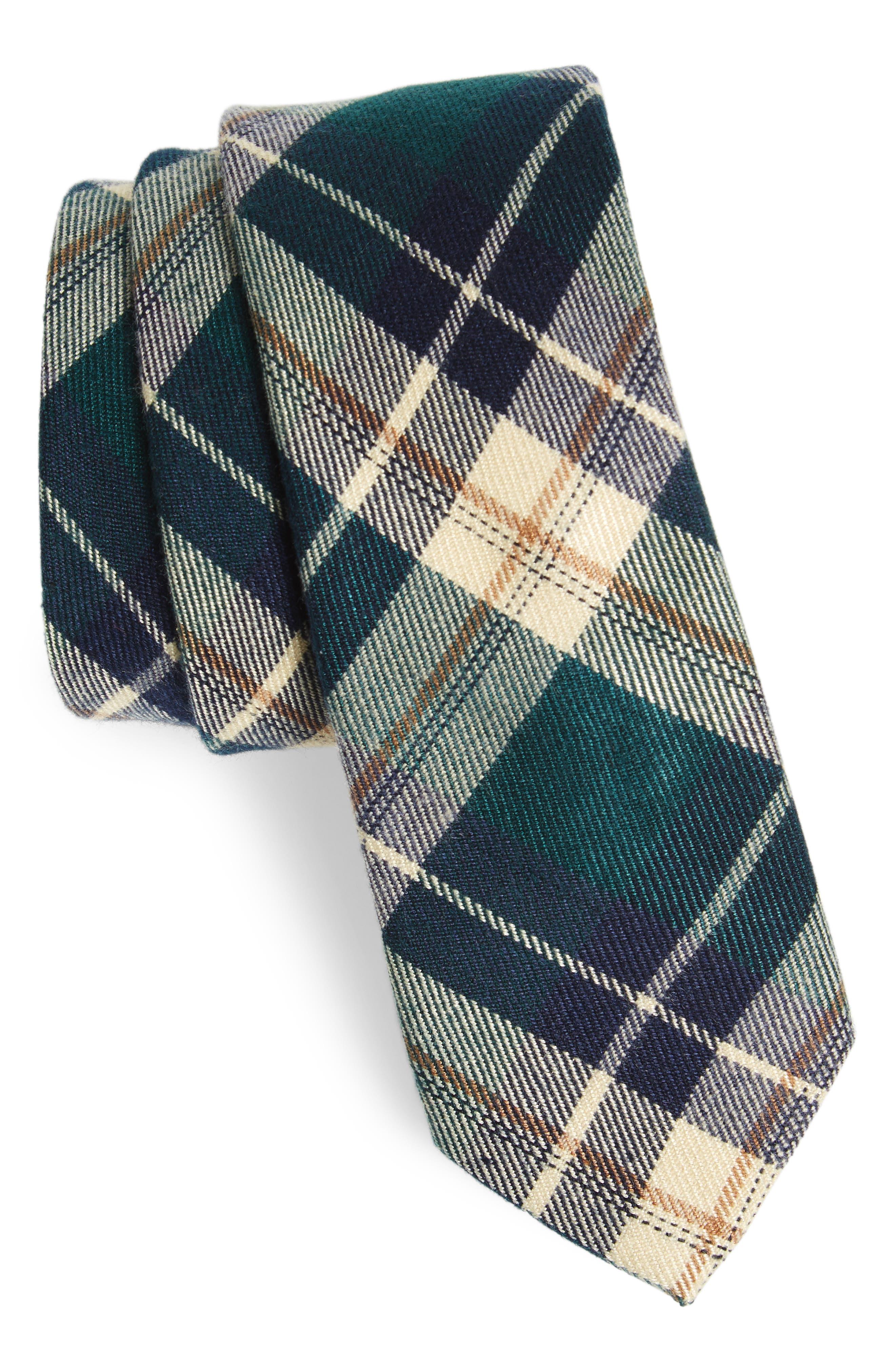 Howerton Plaid Cotton Skinny Tie,                             Main thumbnail 1, color,                             Green