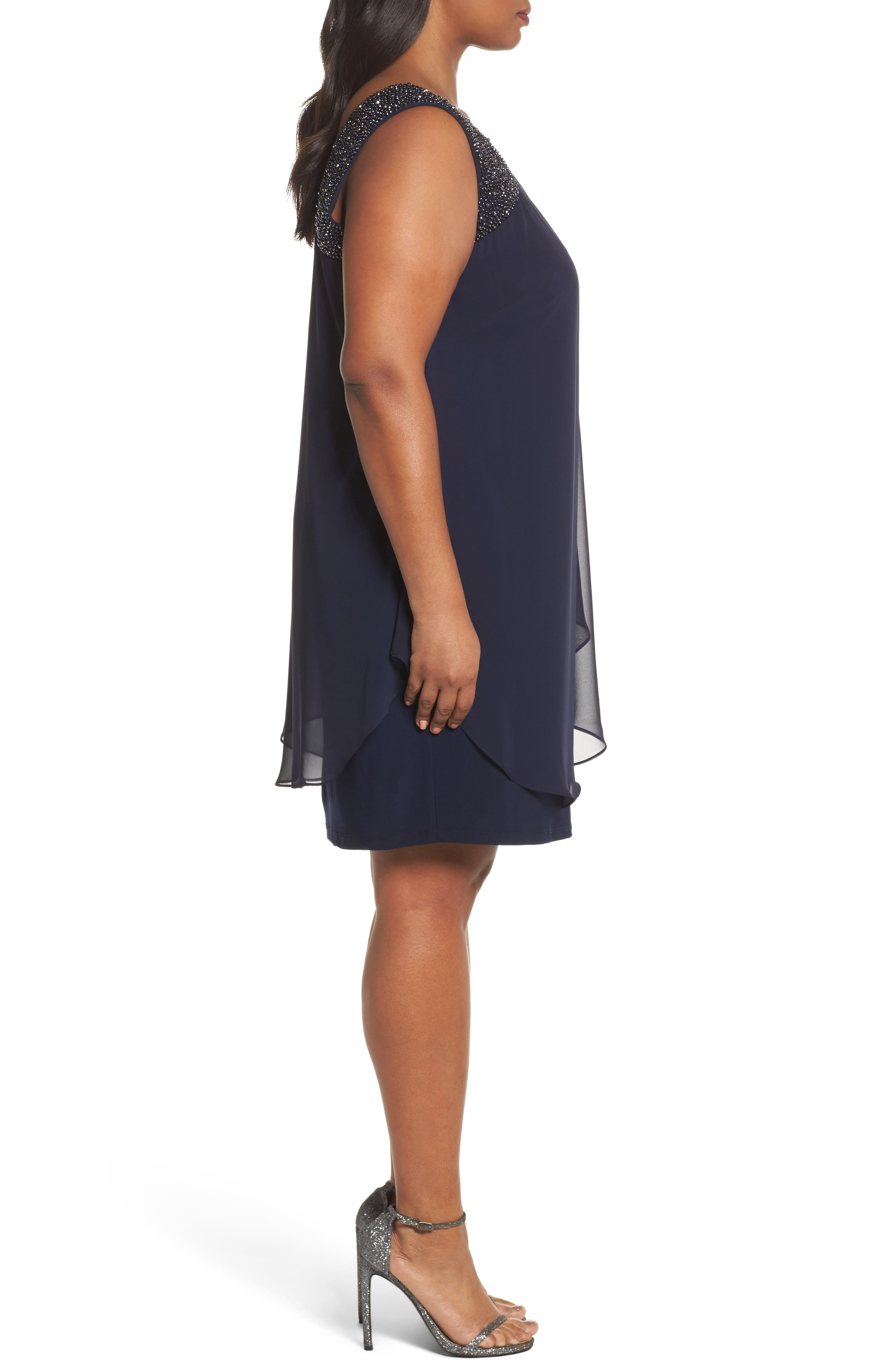 Alternate Image 3  - Xscape Embellished One-Shoulder Overlay Cocktail Dress (Plus Size)