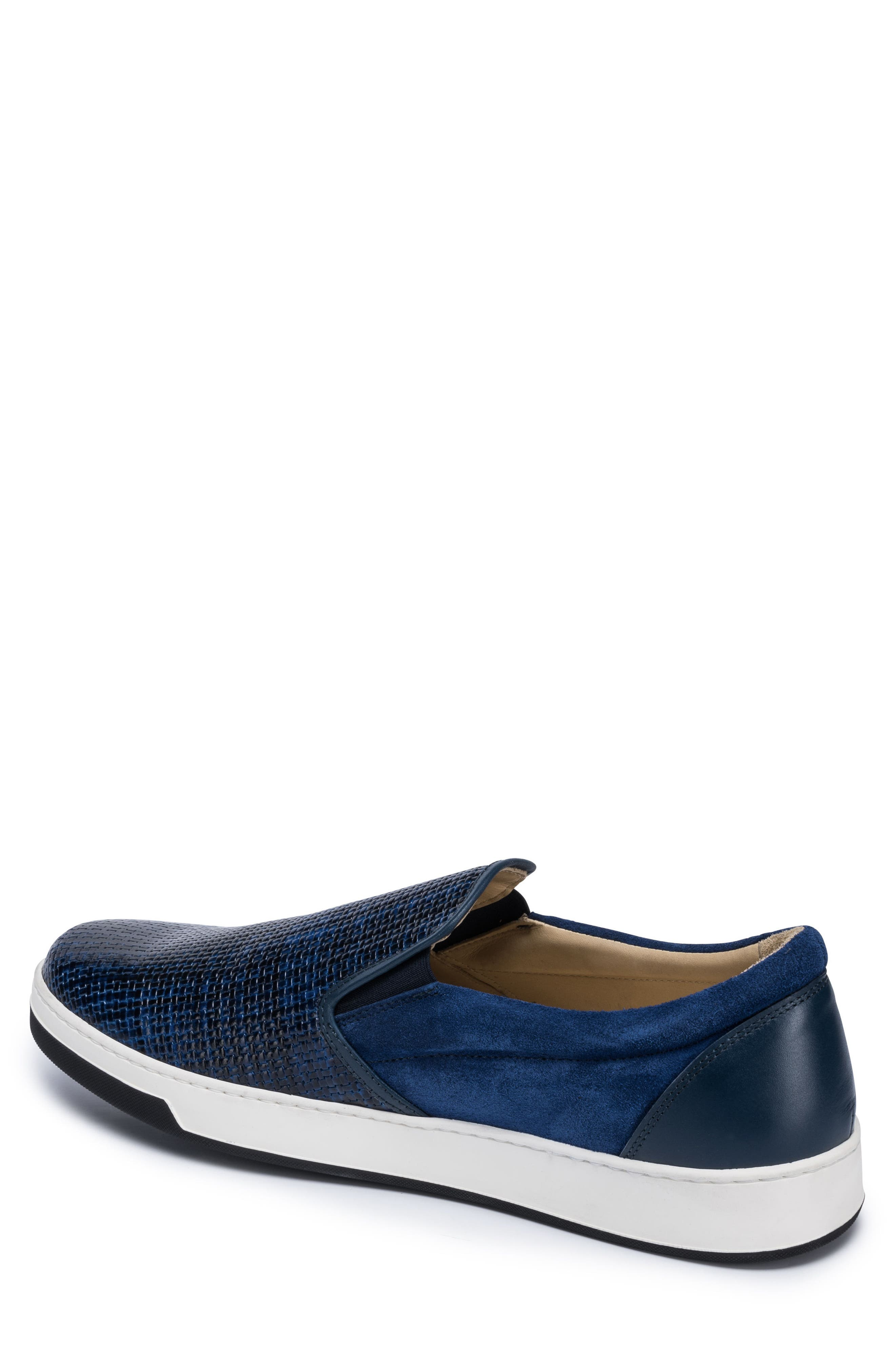 Cinque Terre Woven Slip-On Sneaker,                             Alternate thumbnail 2, color,                             Blue Leather/ Suede