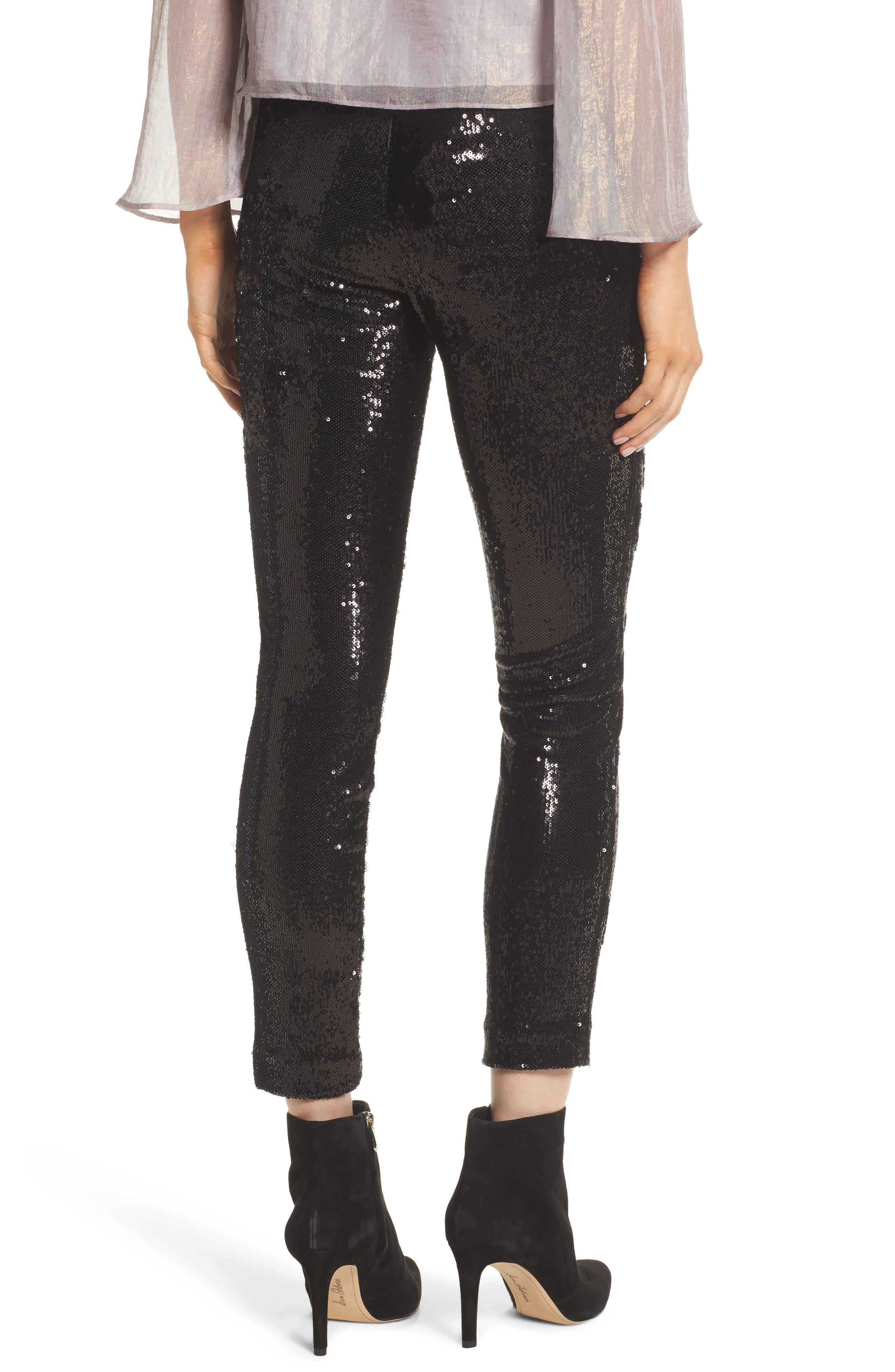 Glendora Sequin Crop Pants,                             Alternate thumbnail 2, color,                             Black