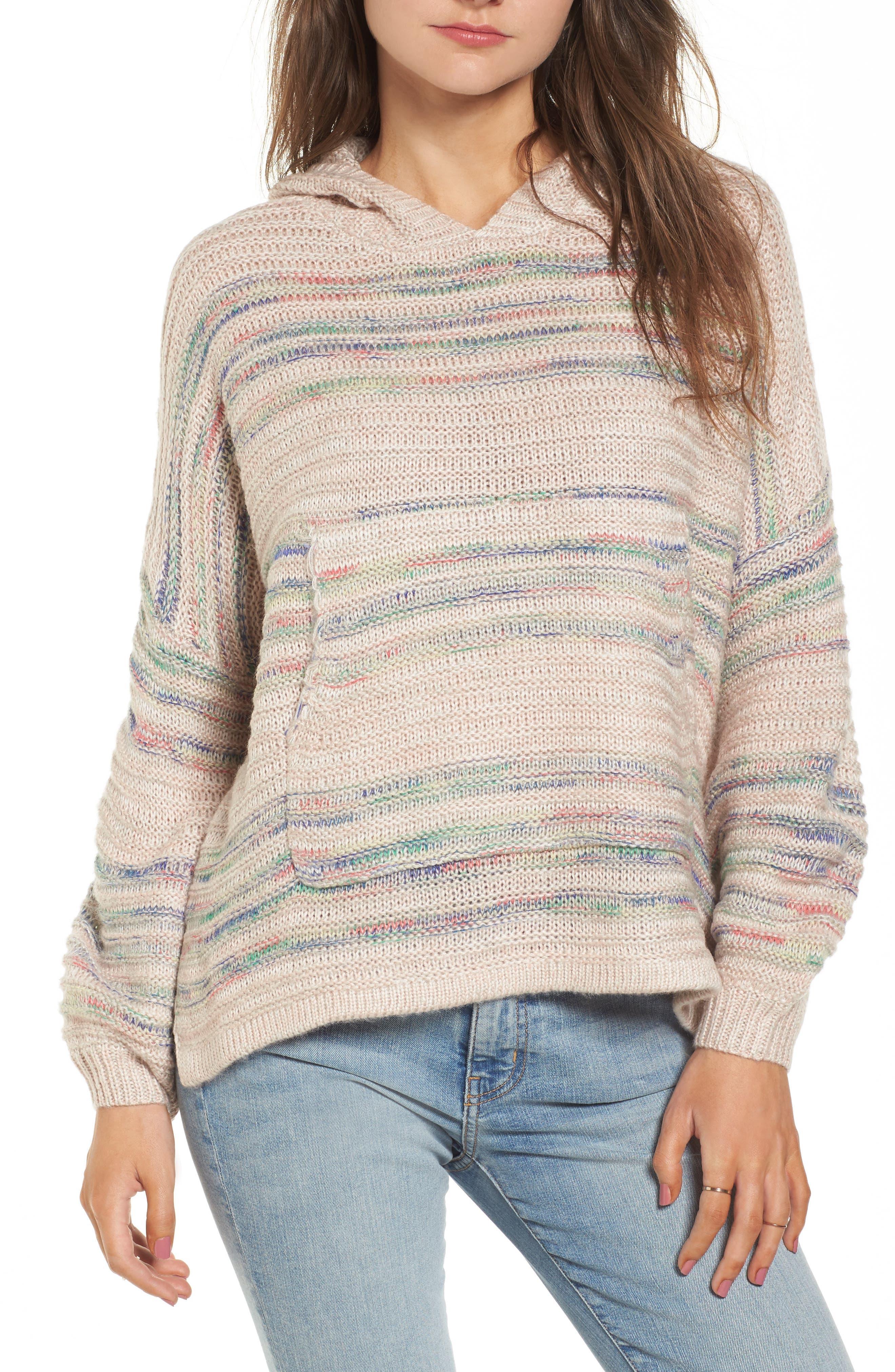 Oversized Sweater Knit Hoodie,                         Main,                         color, Multi Yarn