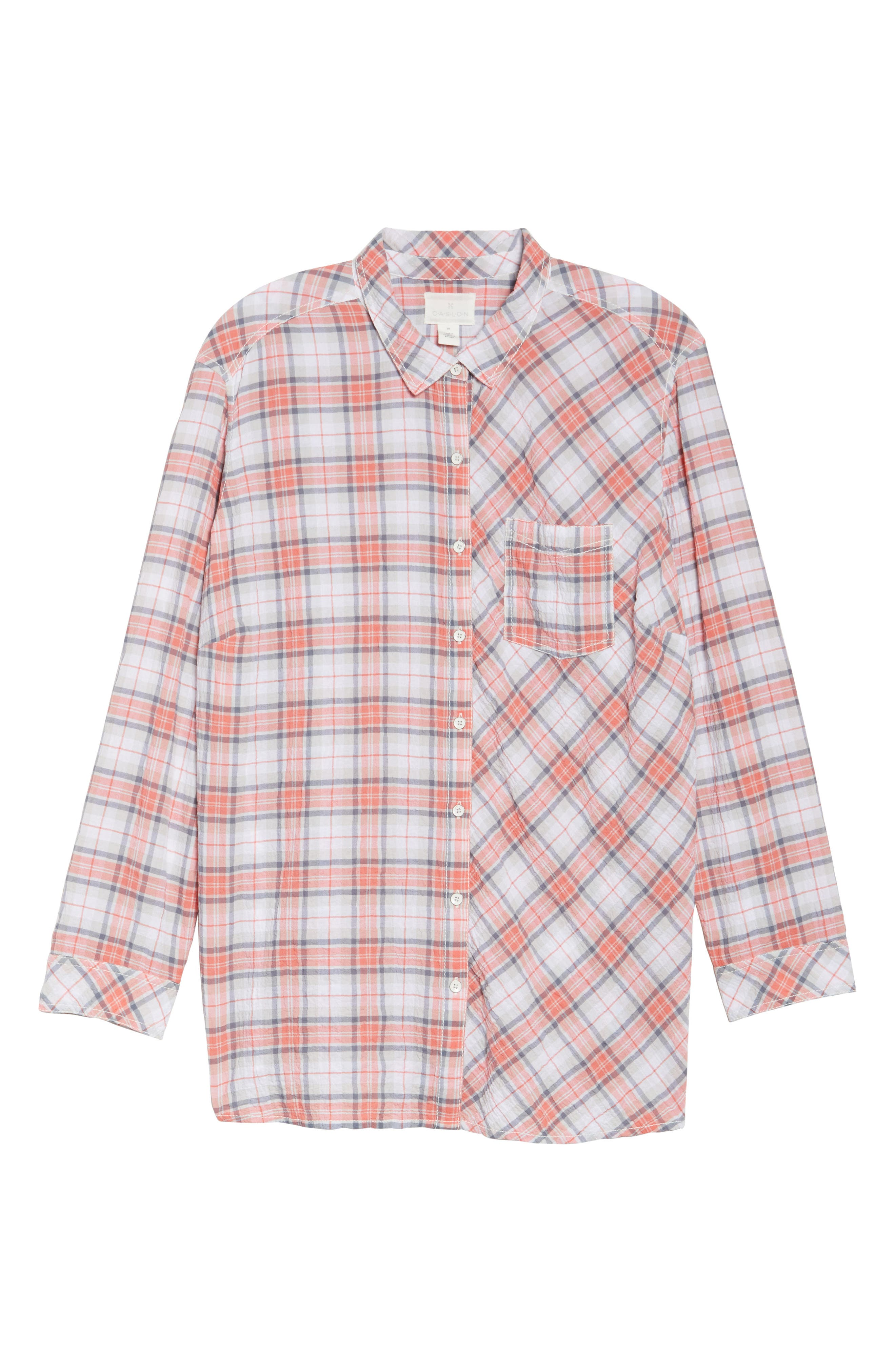 Seersucker Shirt,                             Alternate thumbnail 6, color,                             White- Coral Plaid