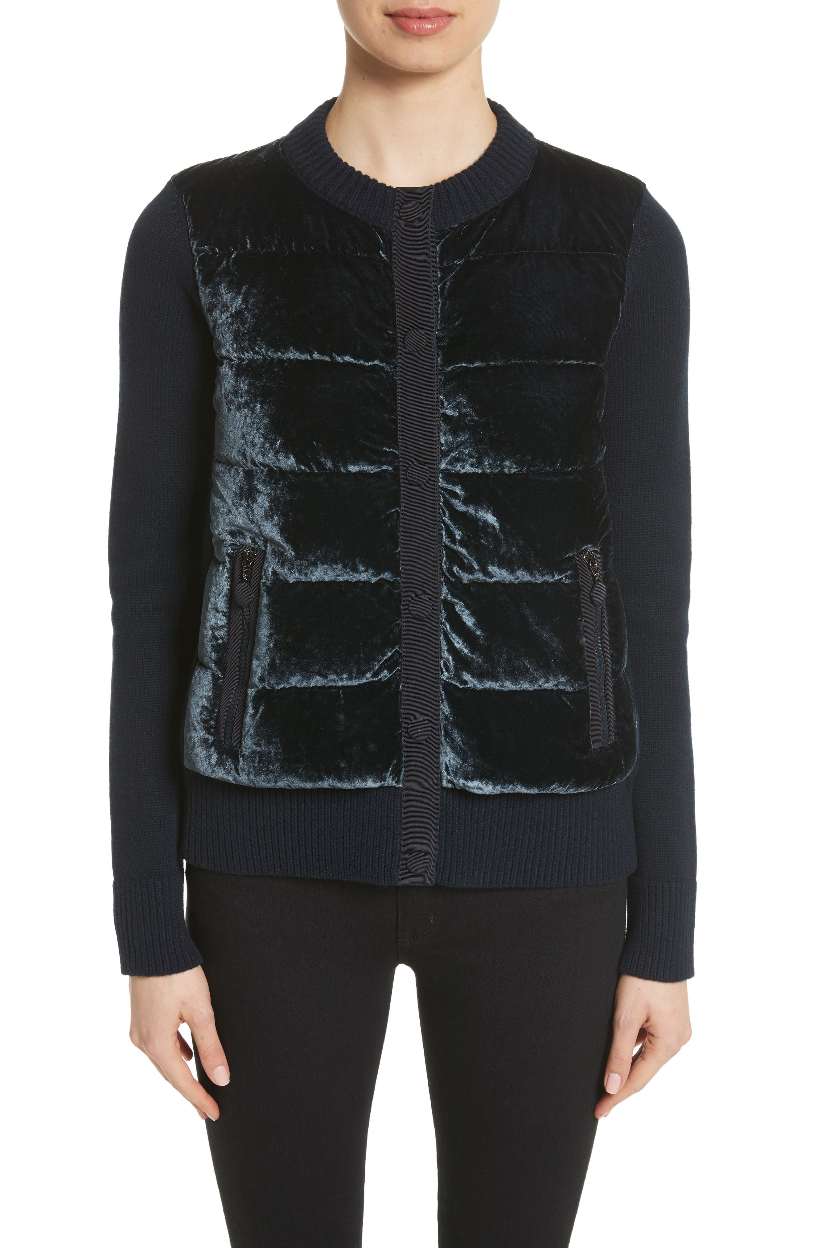 Quilted Velvet & Knit Cardigan,                             Main thumbnail 1, color,                             Navy