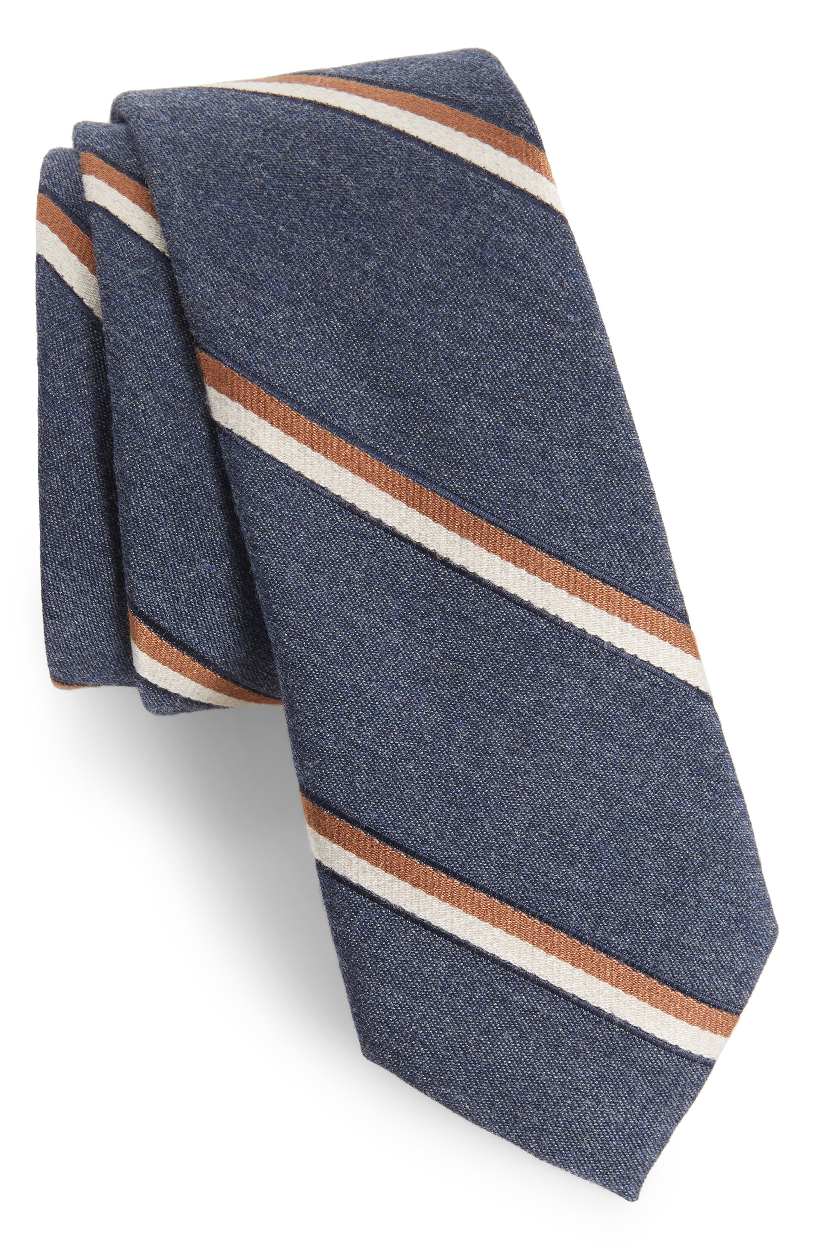 Bushwick Stripe Cotton Blend Skinny Tie,                         Main,                         color, Brown