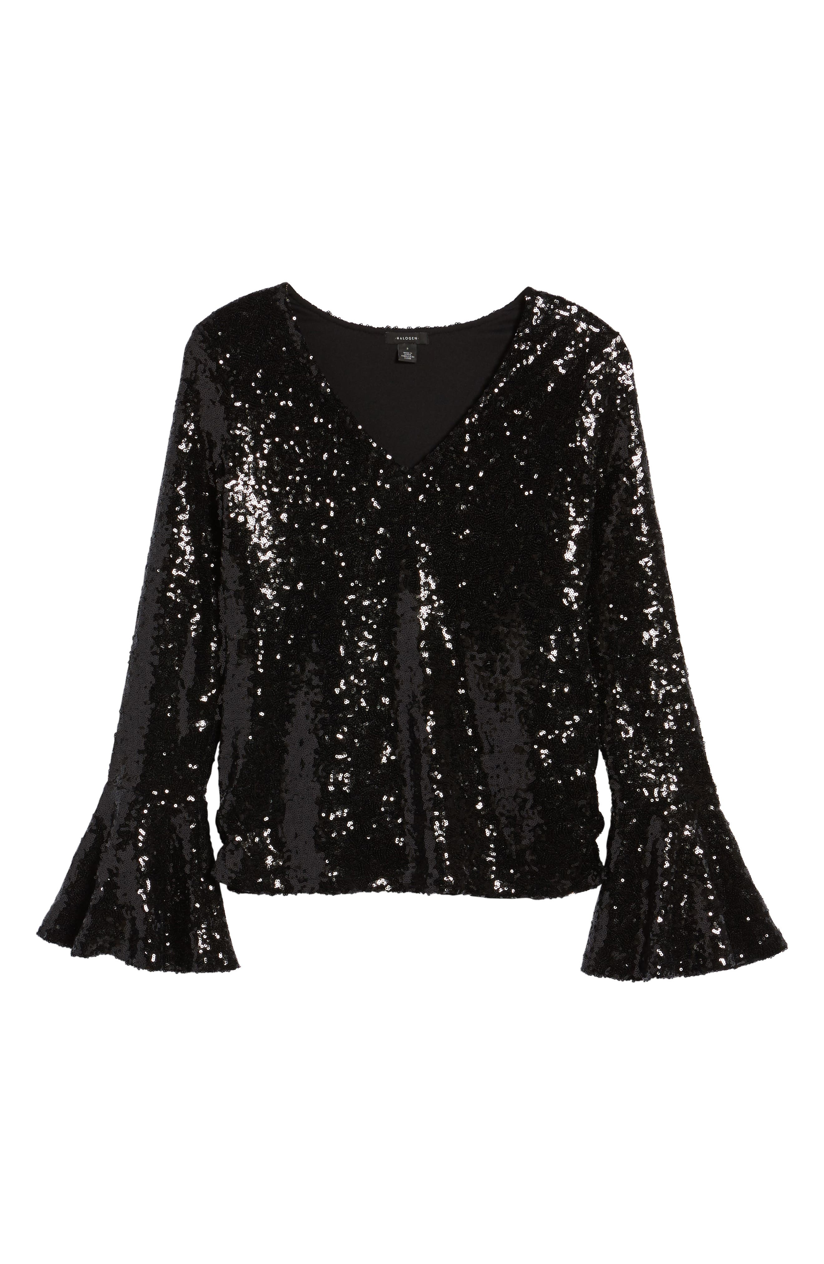 Flare Sleeve Sequin Top,                             Alternate thumbnail 6, color,                             Black