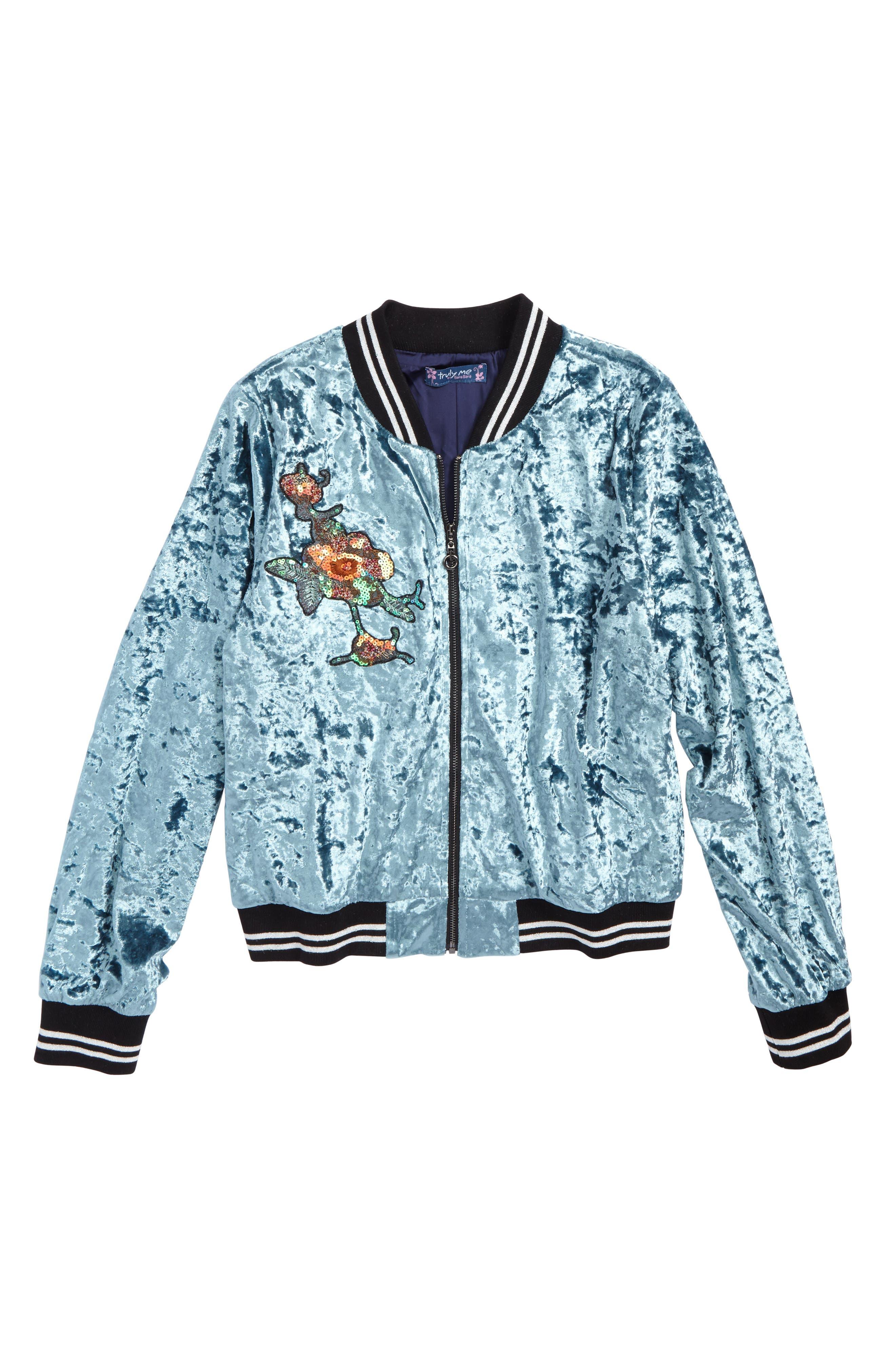 Alternate Image 1 Selected - Truly Me Embellished Velvet Bomber Jacket (Big Girls)