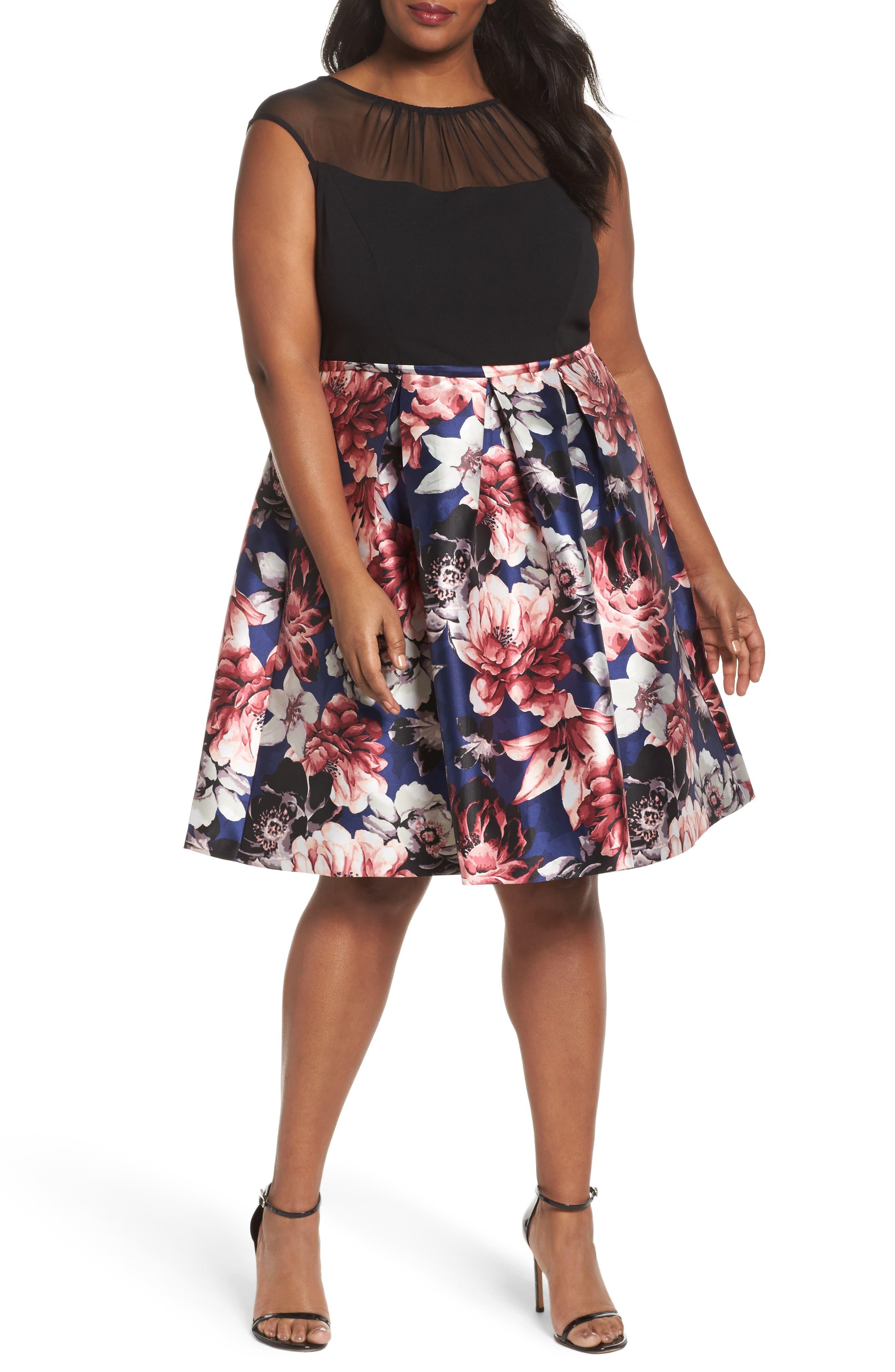 Illusion Neck Floral Fit & Flare Dress,                         Main,                         color, Multi