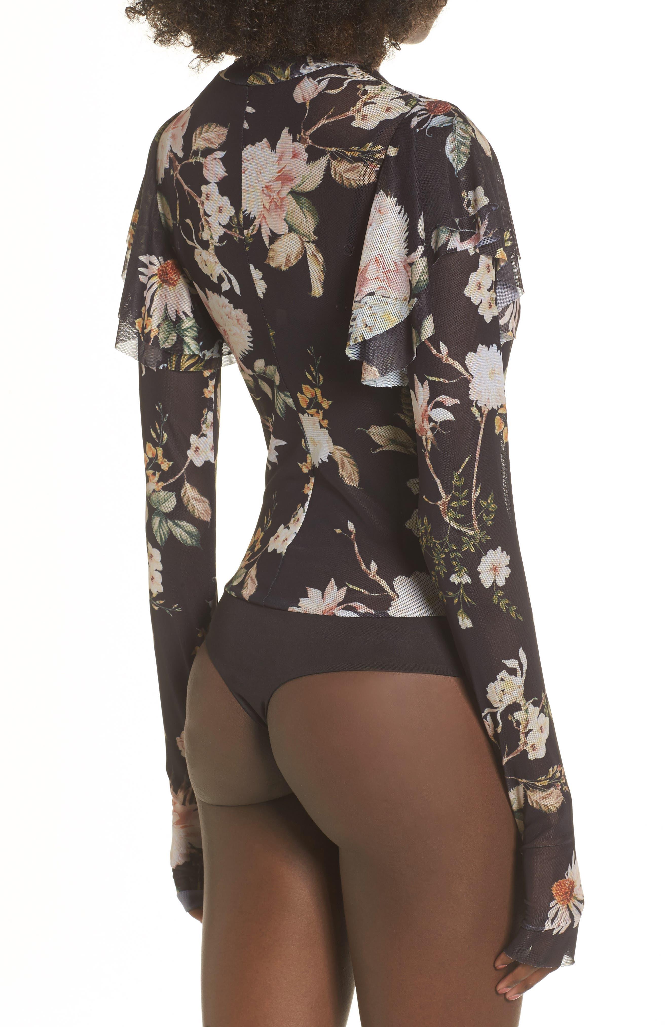 Esme Ruffle Mesh Bodysuit,                             Alternate thumbnail 2, color,                             Noir Floral