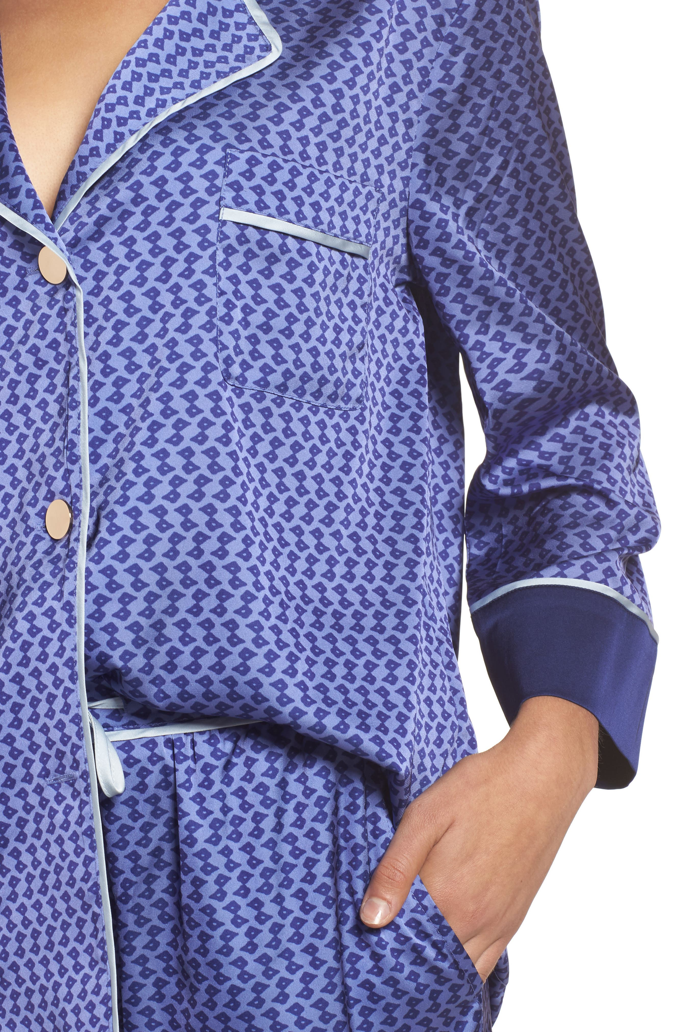 Satin Crop Pajamas,                             Alternate thumbnail 5, color,                             Dark Purple
