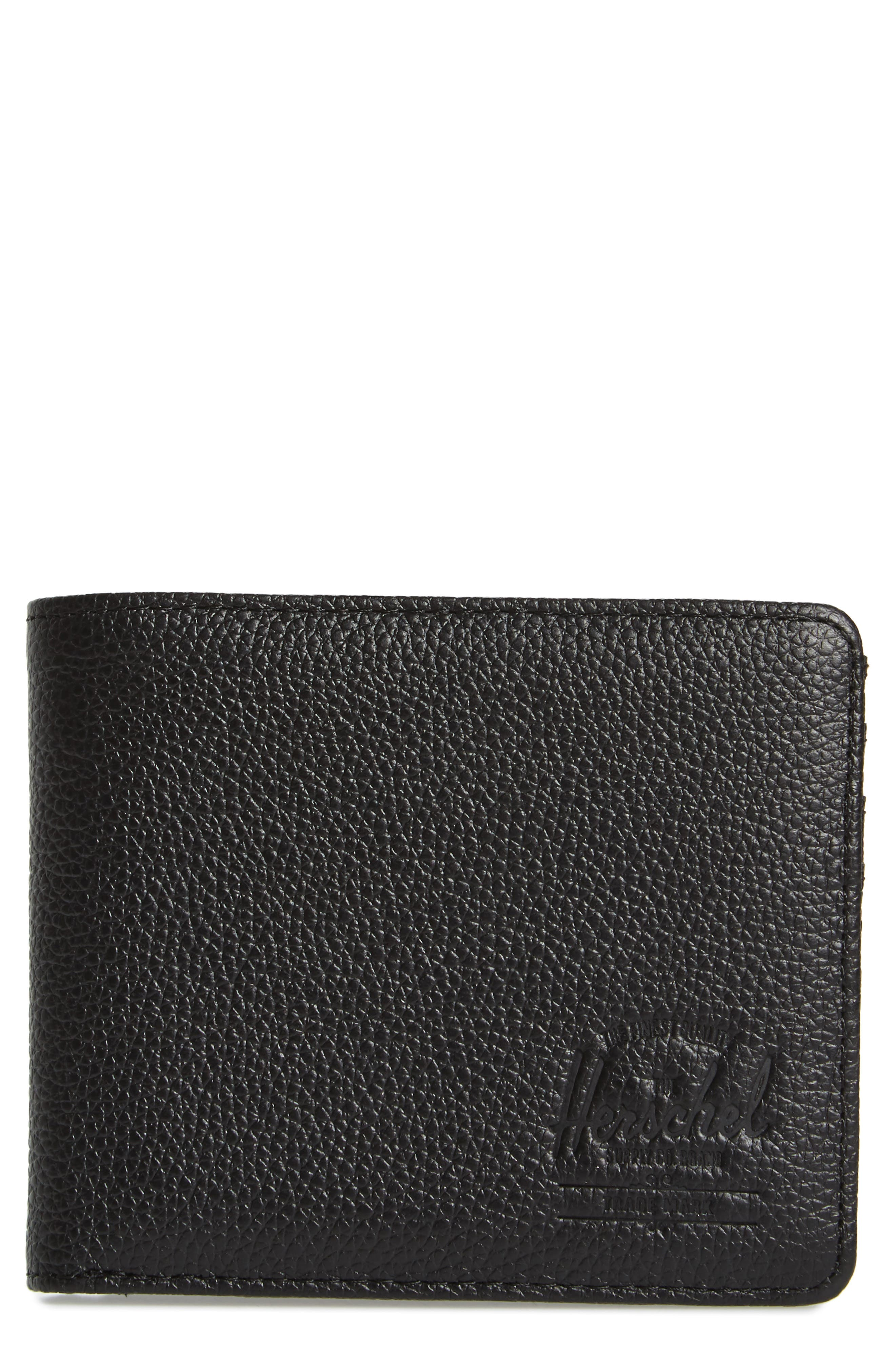 Tile Roy Leather Bifold Wallet,                             Main thumbnail 1, color,                             Black Pebbled Leather