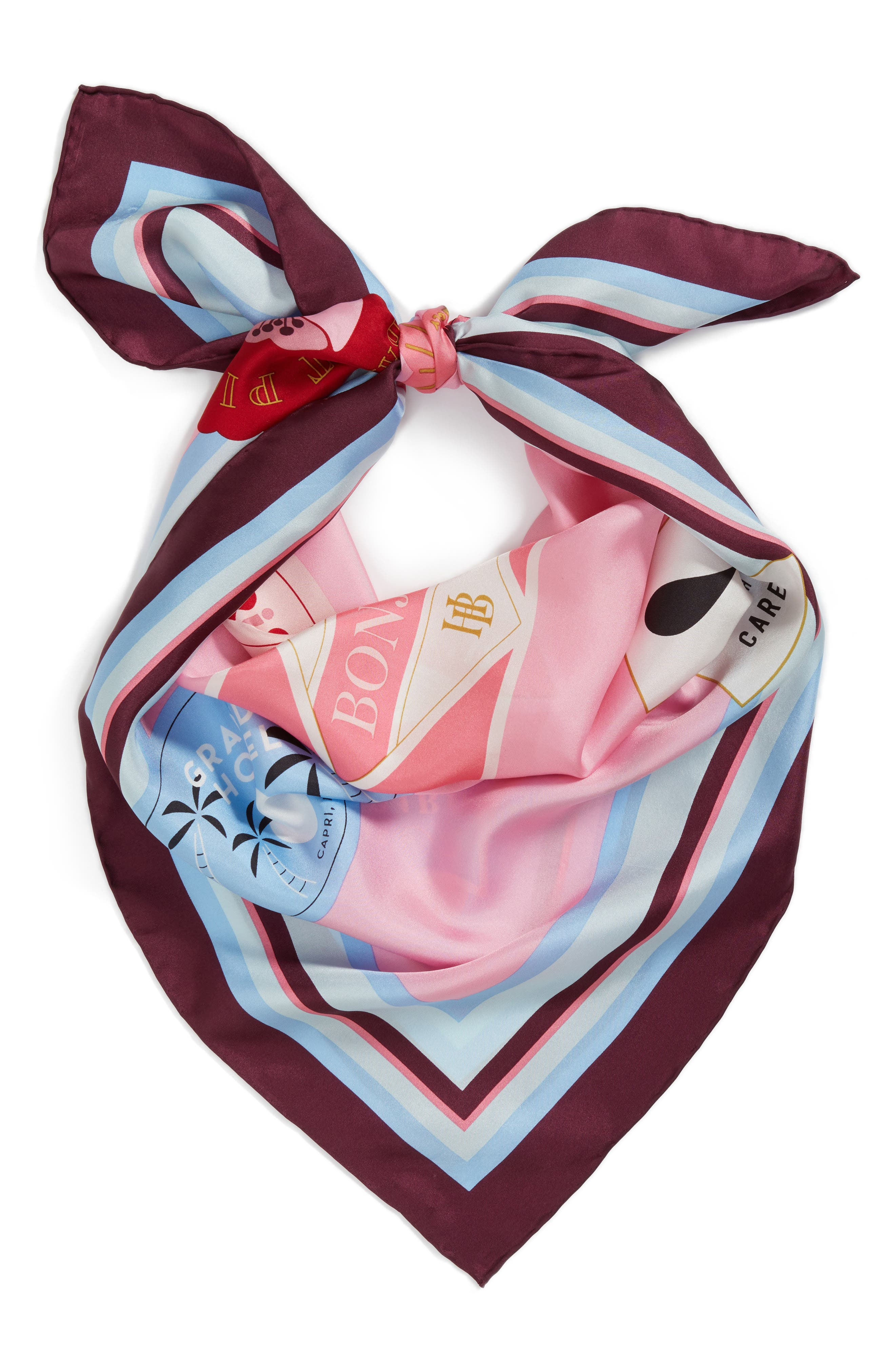 travel stickers silk square scarf,                             Alternate thumbnail 3, color,                             Parisian Pink