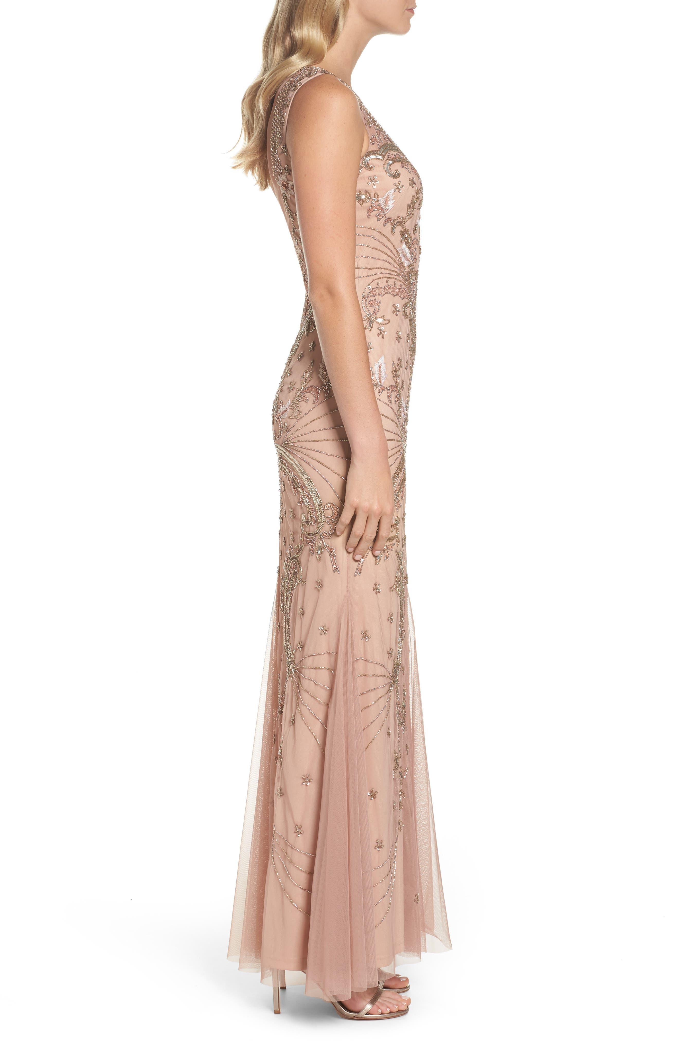 Beaded Mesh Dress,                             Alternate thumbnail 3, color,                             Rose Gold